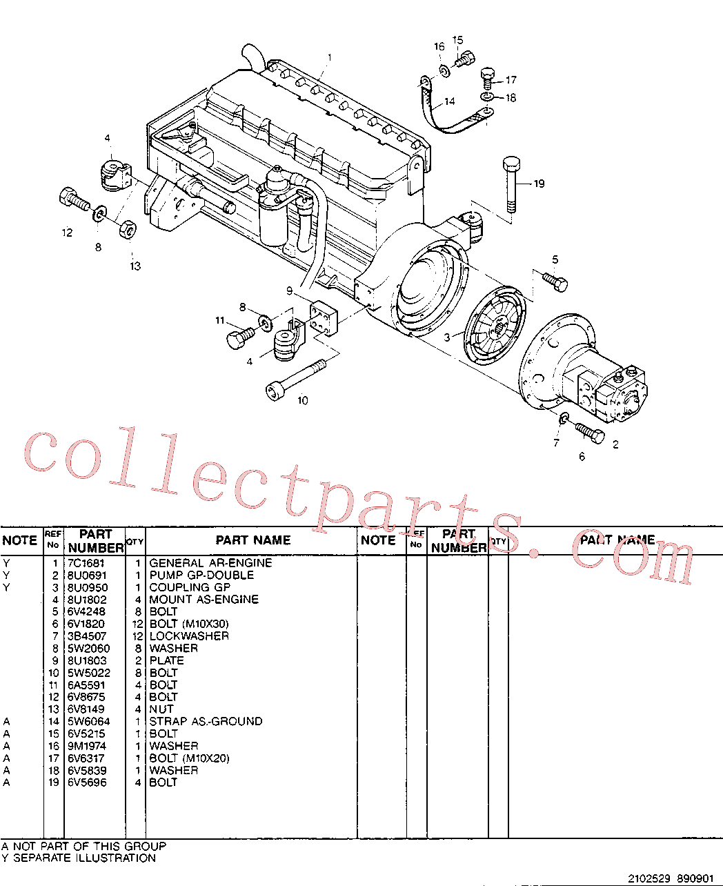 CAT 6V-8004 for 320B N Excavator(EXC) engine installation 5W-9569 Assembly