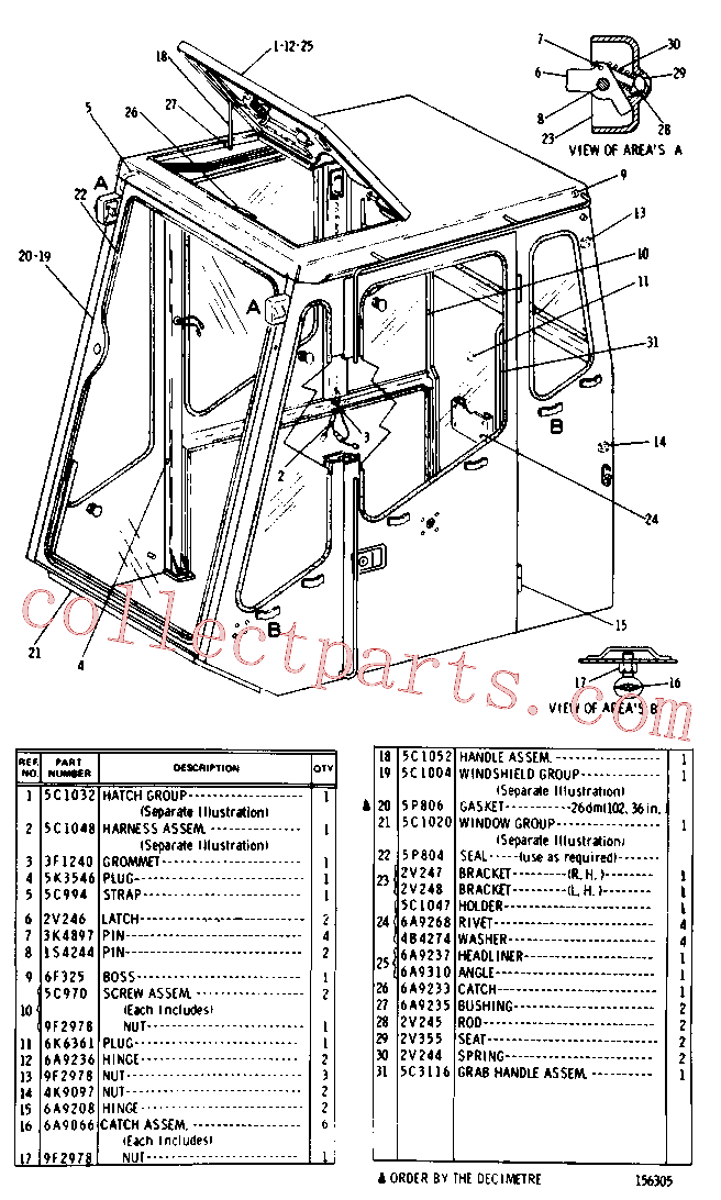 CAT 3H-1118 for 621B Wheel Scraper(WTS) cab, gauges and accessories 5C-0960 Assembly