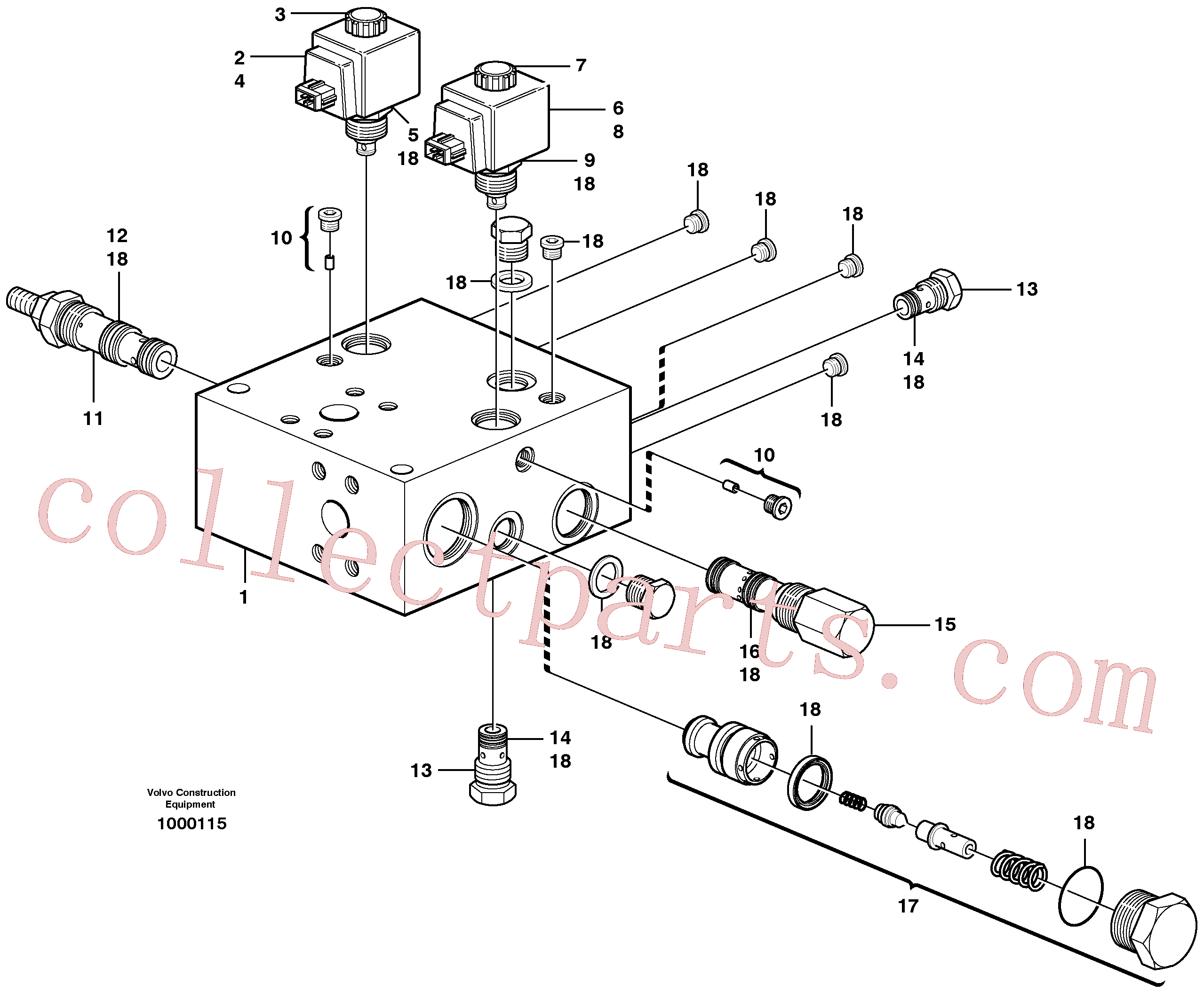 VOE11714081 for Volvo Relief valve, Relief valve., Valve, circuit body and return valve(1000115 assembly)