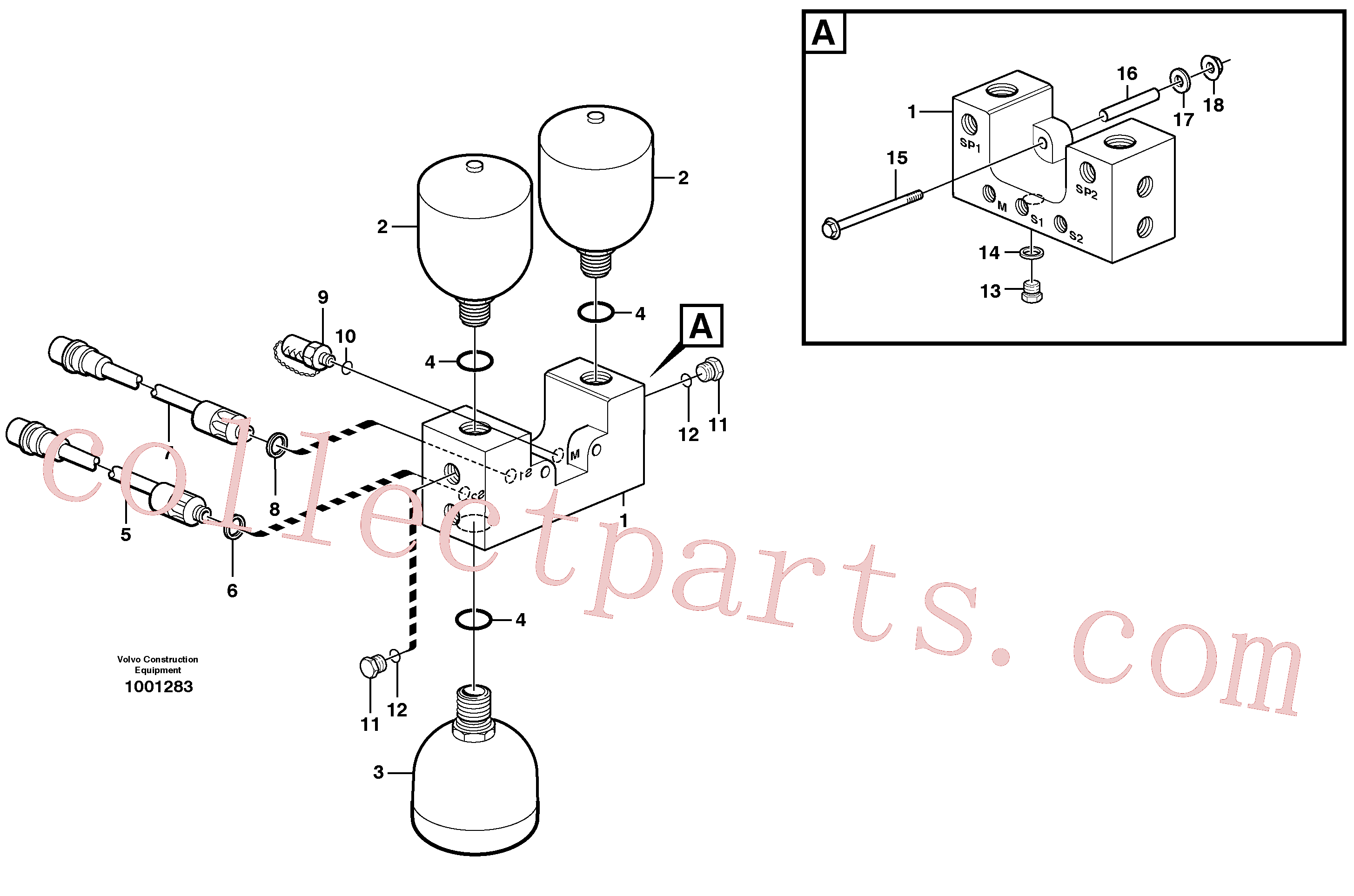 VOE968612 for Volvo Valve and accumulators(1001283 assembly)
