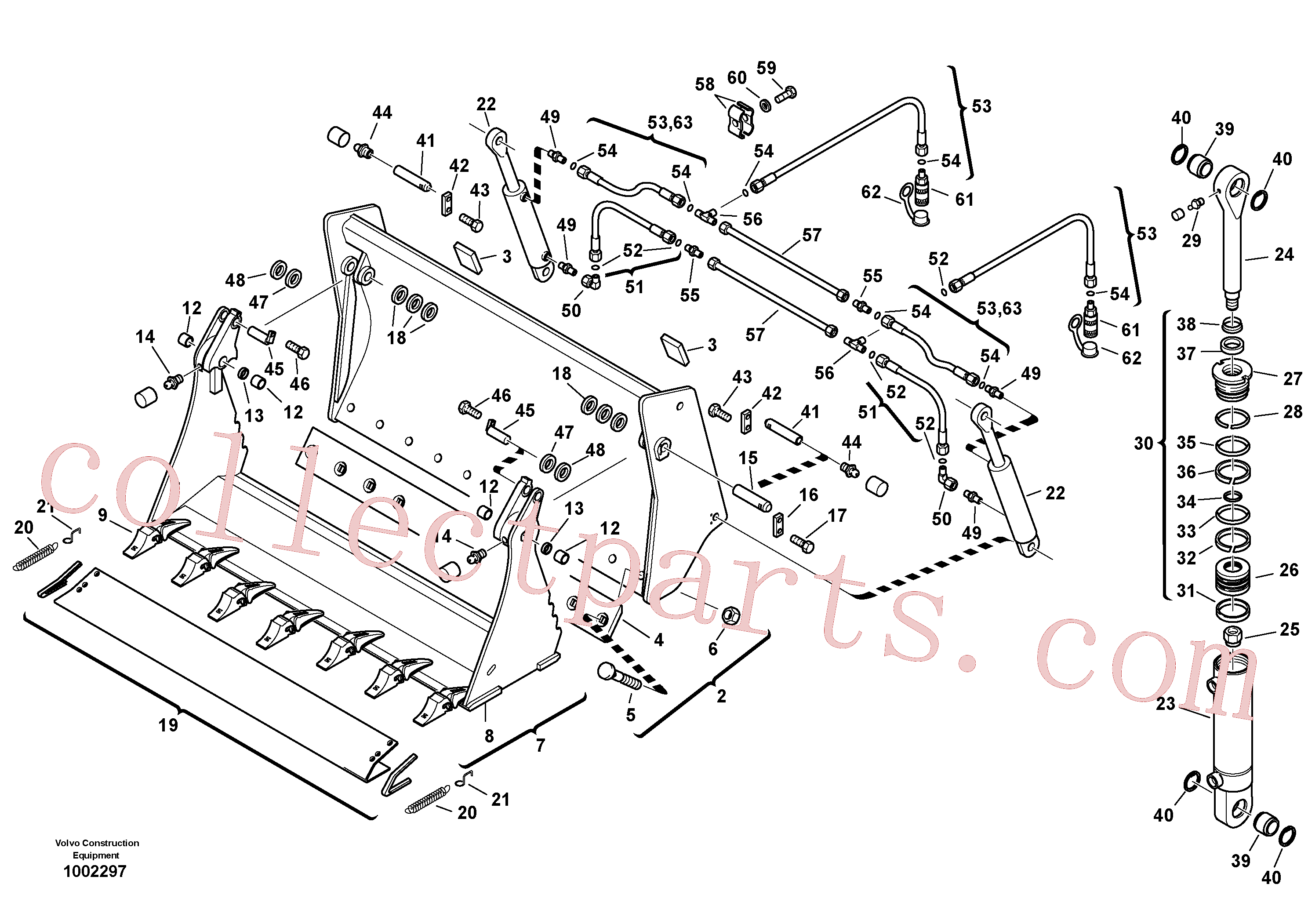 ZM2290856 for Volvo Shutter bucket with teeth(1002297 assembly)