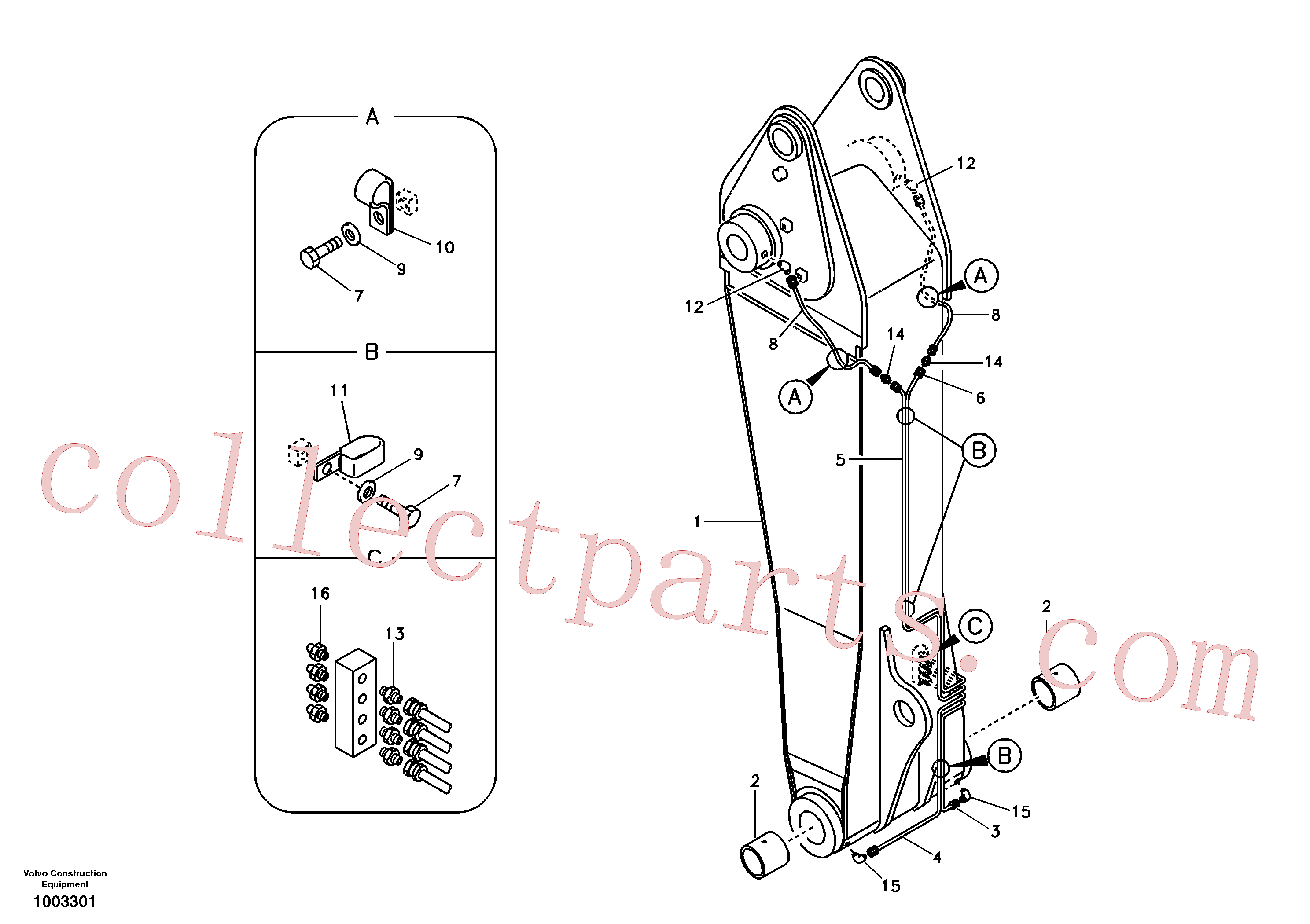 VOE14563027 for Volvo Boom and grease piping, adjustable 1st(1003301 assembly)