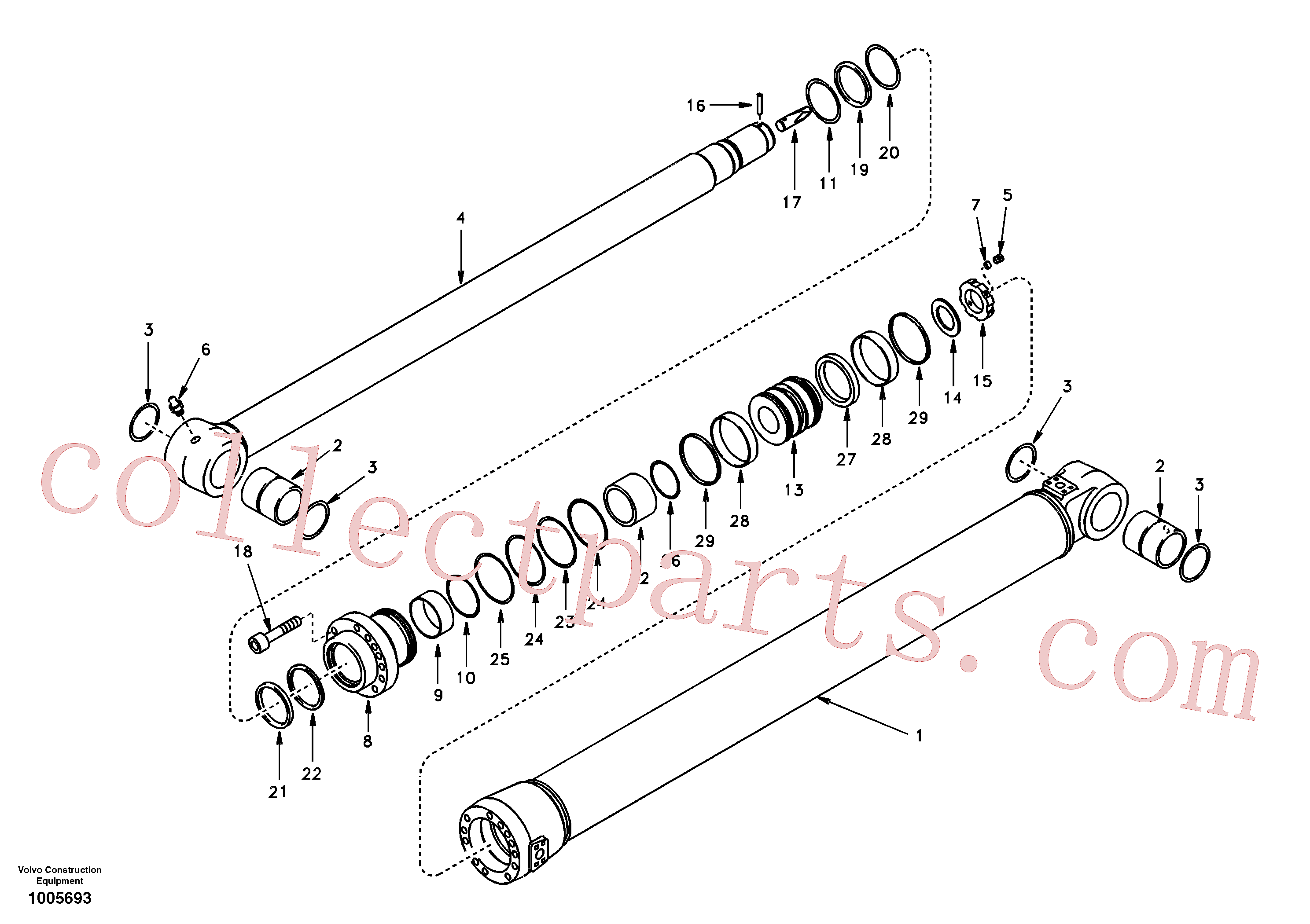 SA1146-06540 for Volvo Dipper arm cylinder(1005693 assembly)