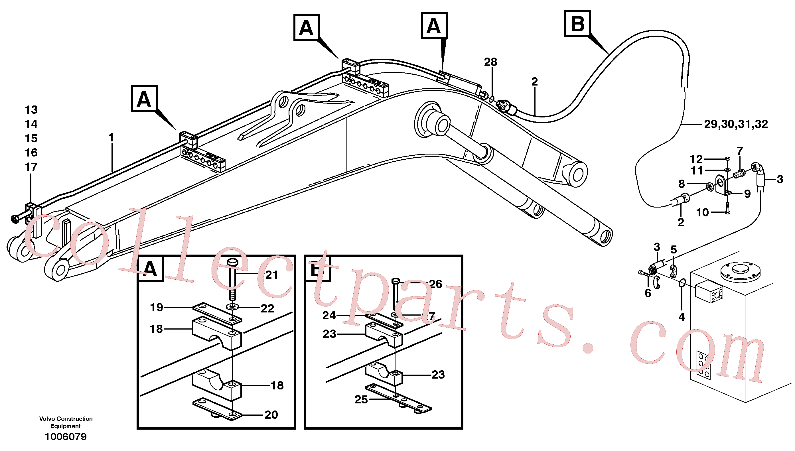 VOE14371893 for Volvo Hammer hydraulics on mono boom, return line(1006079 assembly)