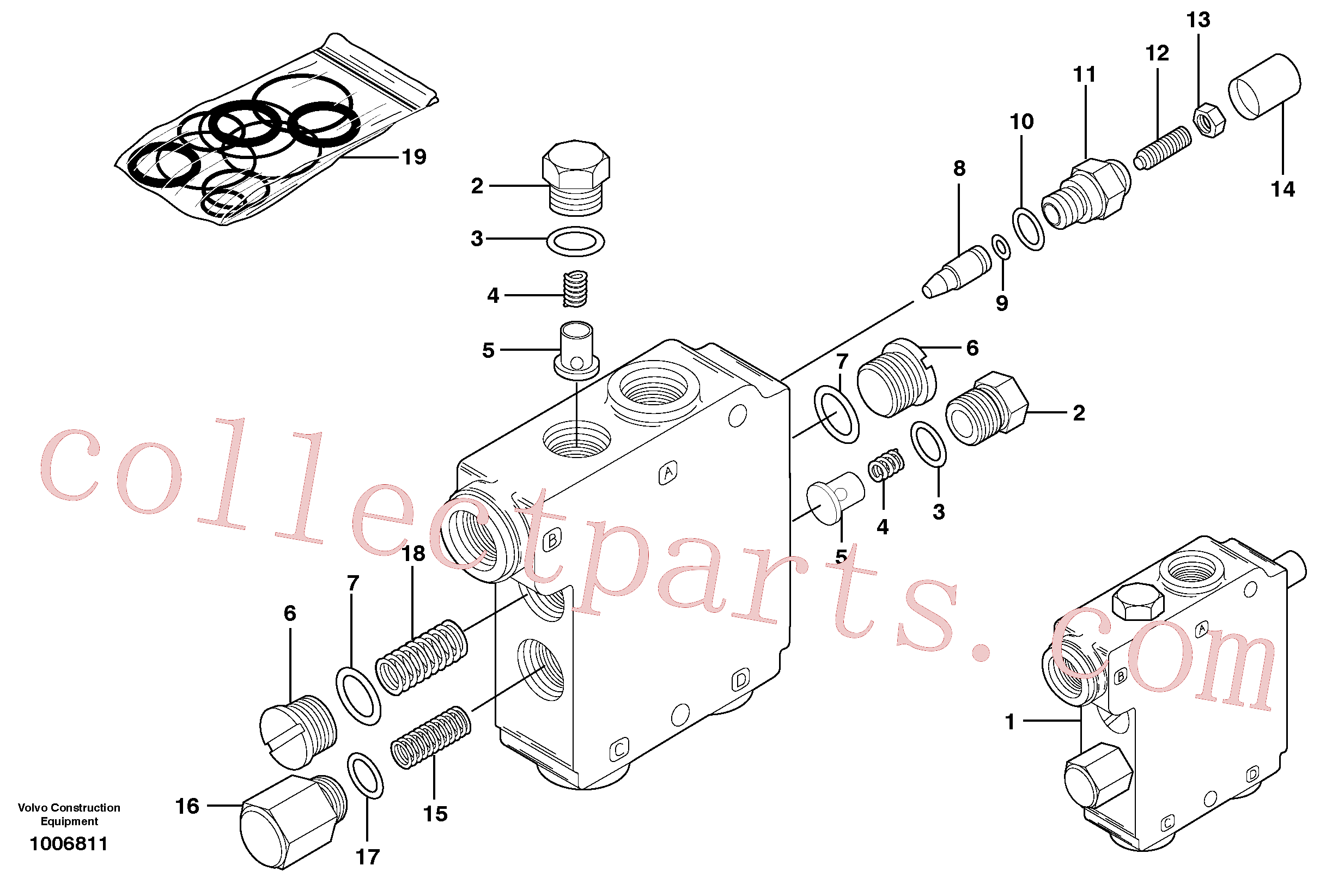 VOE11710622 for Volvo Self level valve (optional) (eaton valve part number 39055-day), Level self compensating valve(1006811 assembly)