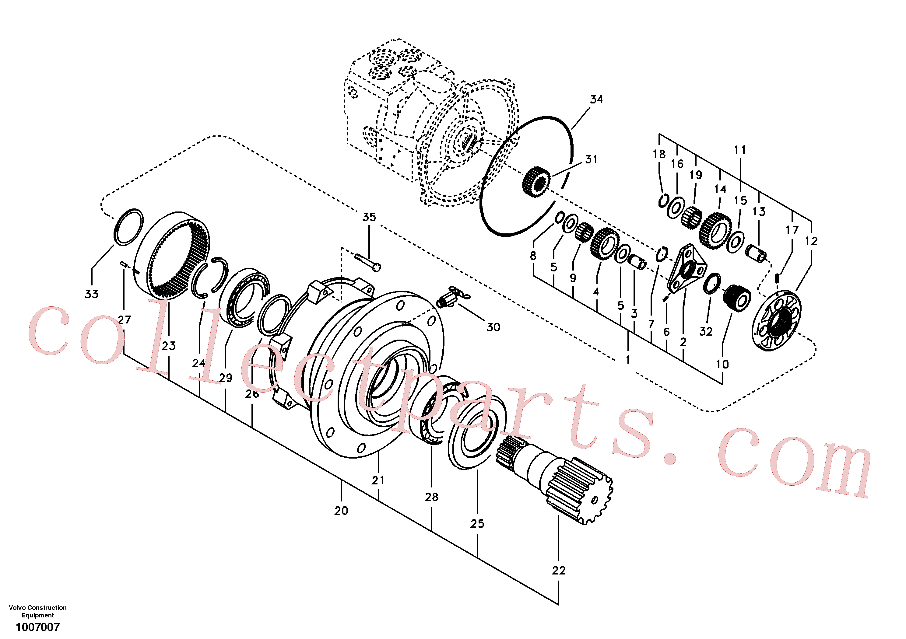 VOE14503940 for Volvo Swing gearbox(1007007 assembly)