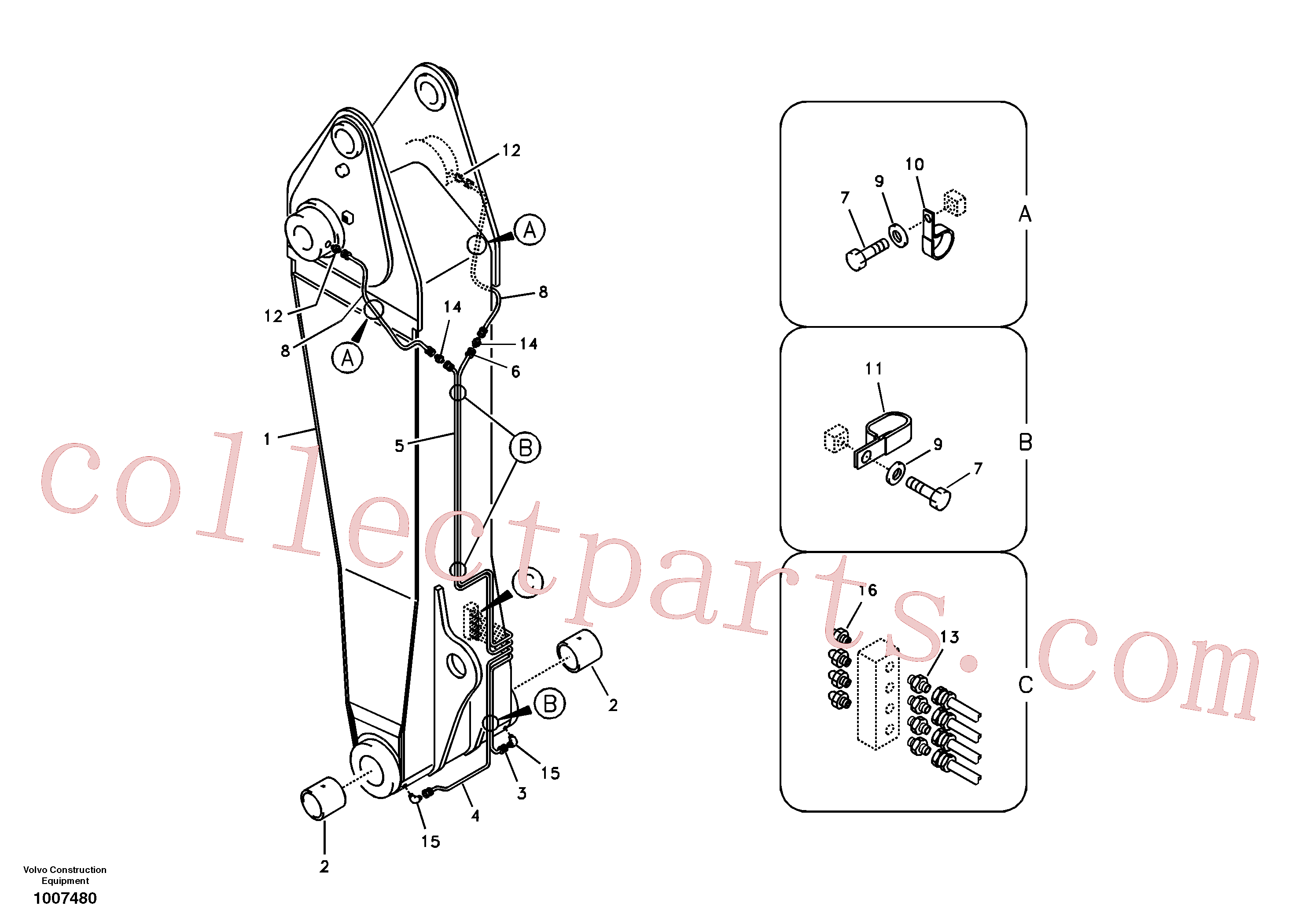 VOE14521029 for Volvo Boom and grease piping, adjustable 1st(1007480 assembly)
