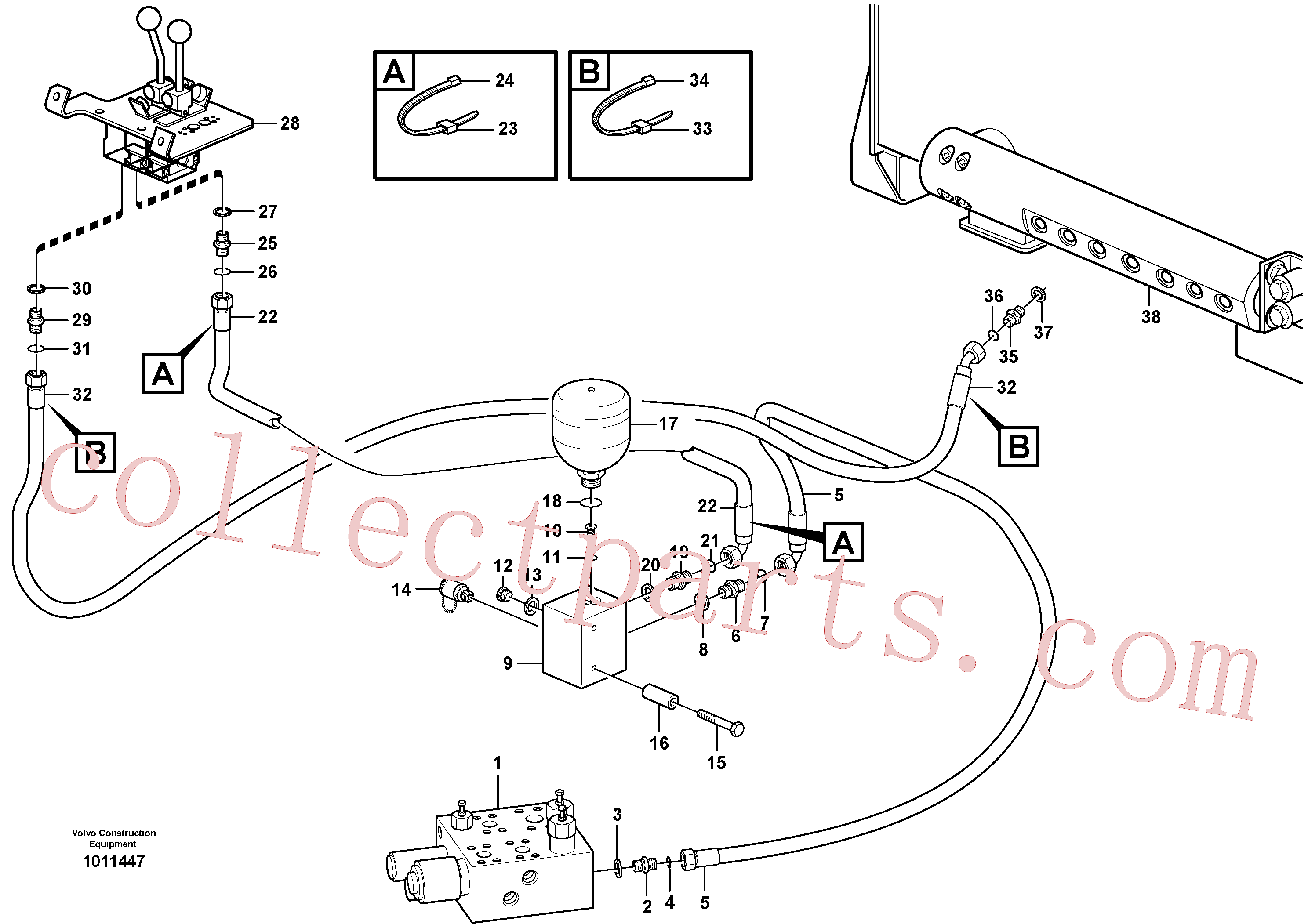 VOE11172988 for Volvo Servo - hydraulic, feed and return lines(1011447 assembly)