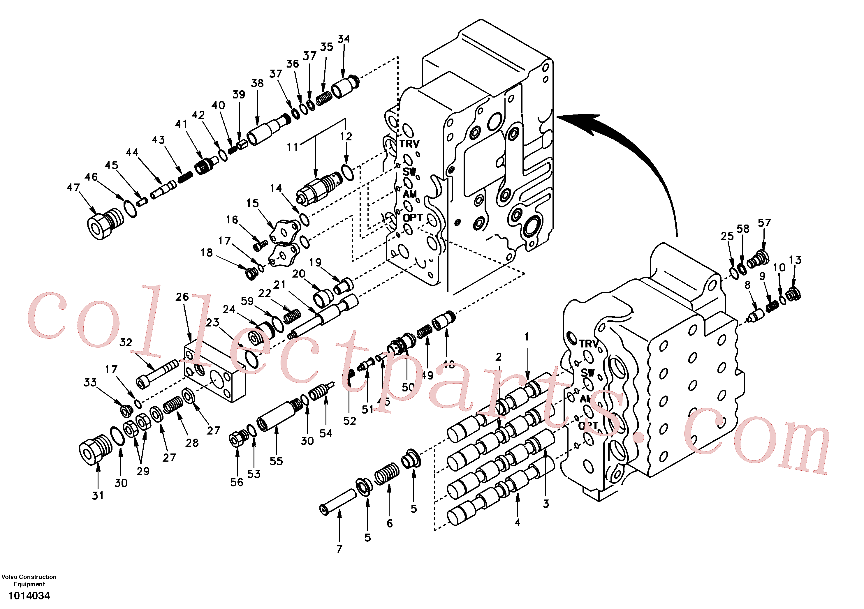 VOE14517613 for Volvo Main control valve, swing and option and dipper arm and travel Lh(1014034 assembly)