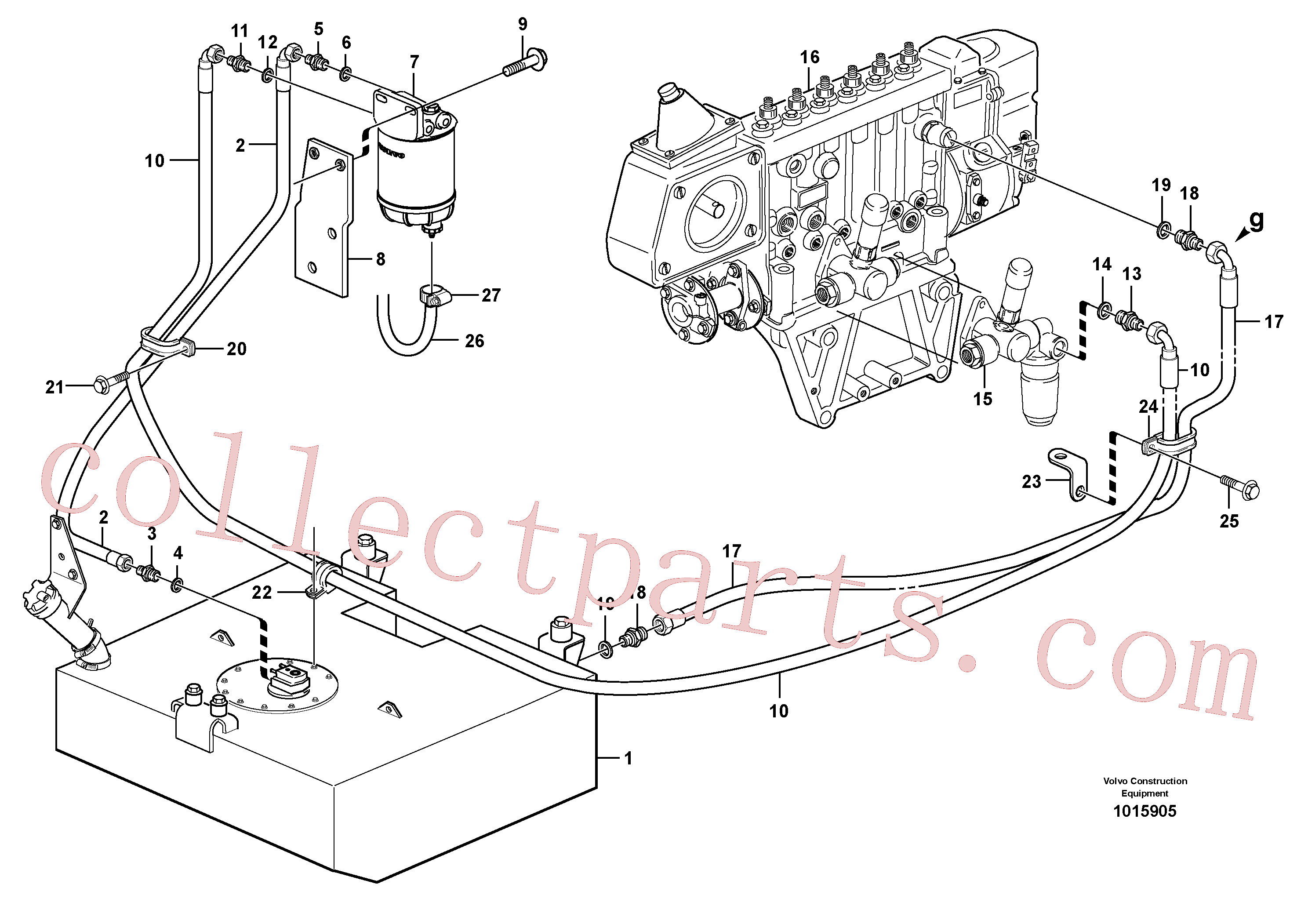VOE4935613 for Volvo Fuel pipes, fuel tank - injection pump(1015905 assembly)