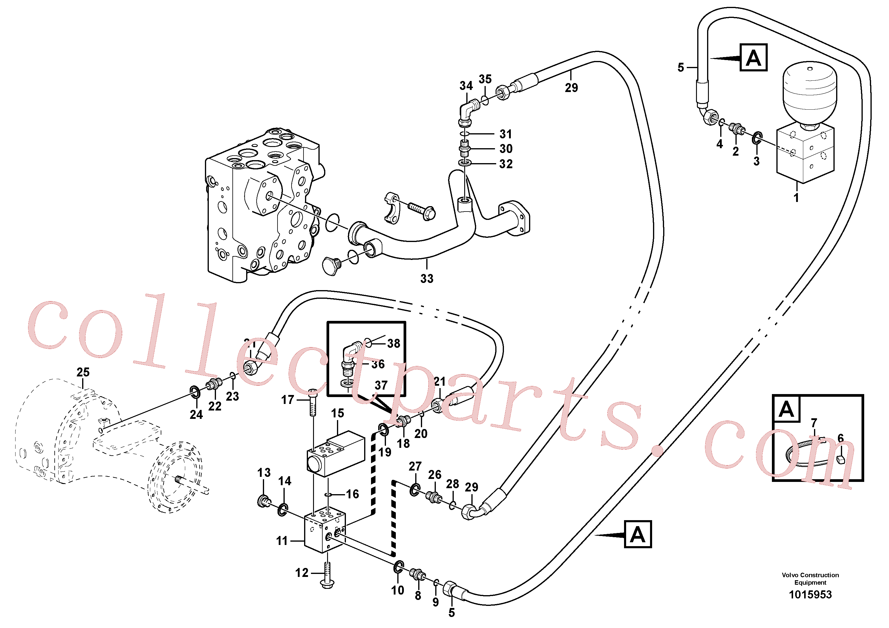 VOE11172988 for Volvo Differential lock, hydraulic line(1015953 assembly)