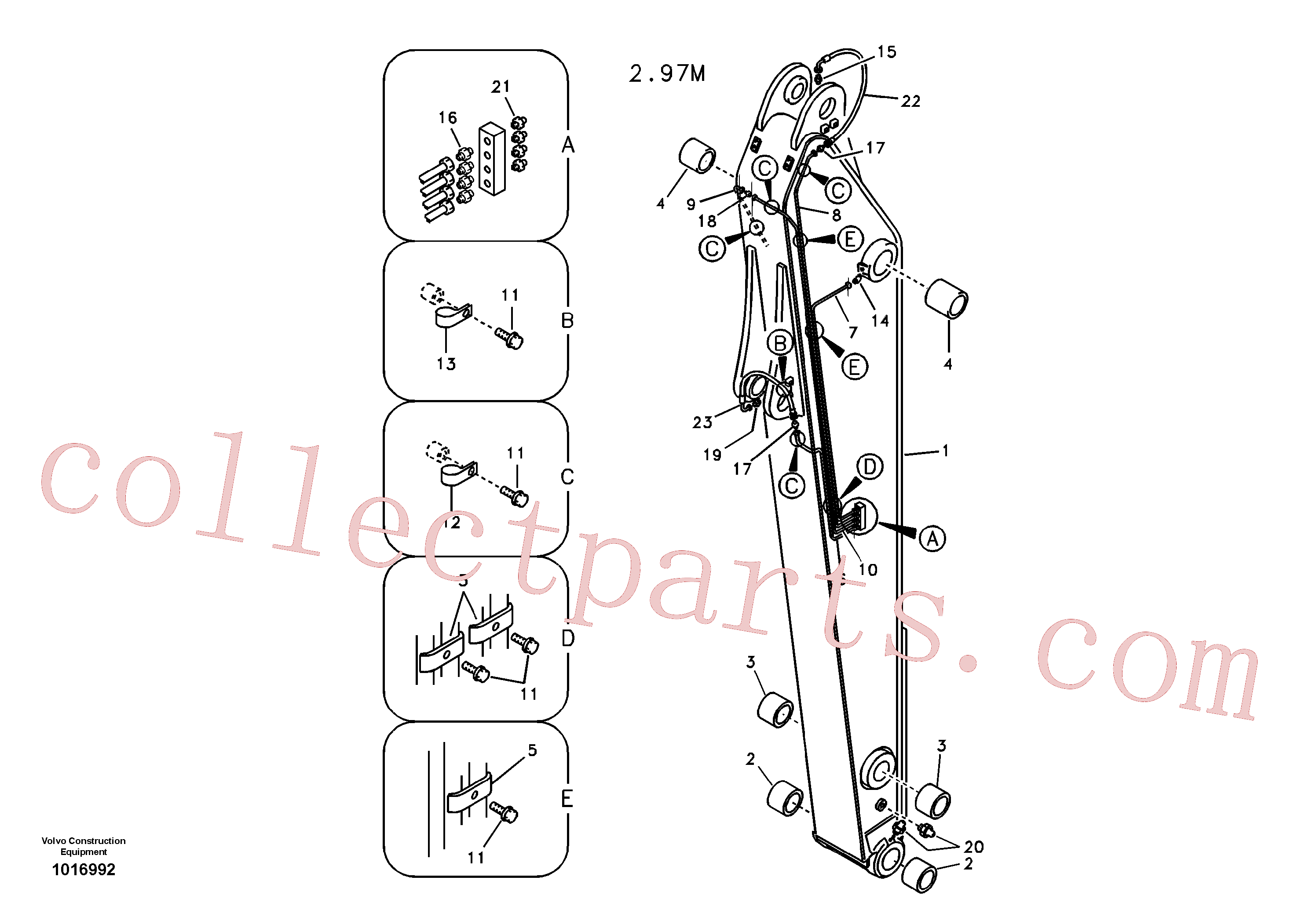 VOE14881292 for Volvo Dipper arm and grease piping with piping seat(1016992 assembly)