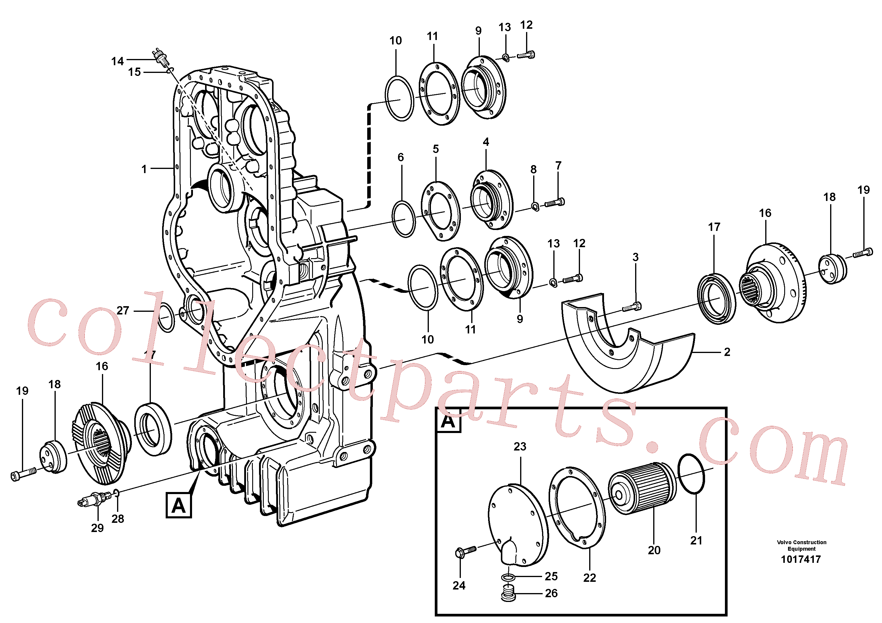 VOE11037589 for Volvo Transfer case, housing and covers(1017417 assembly)