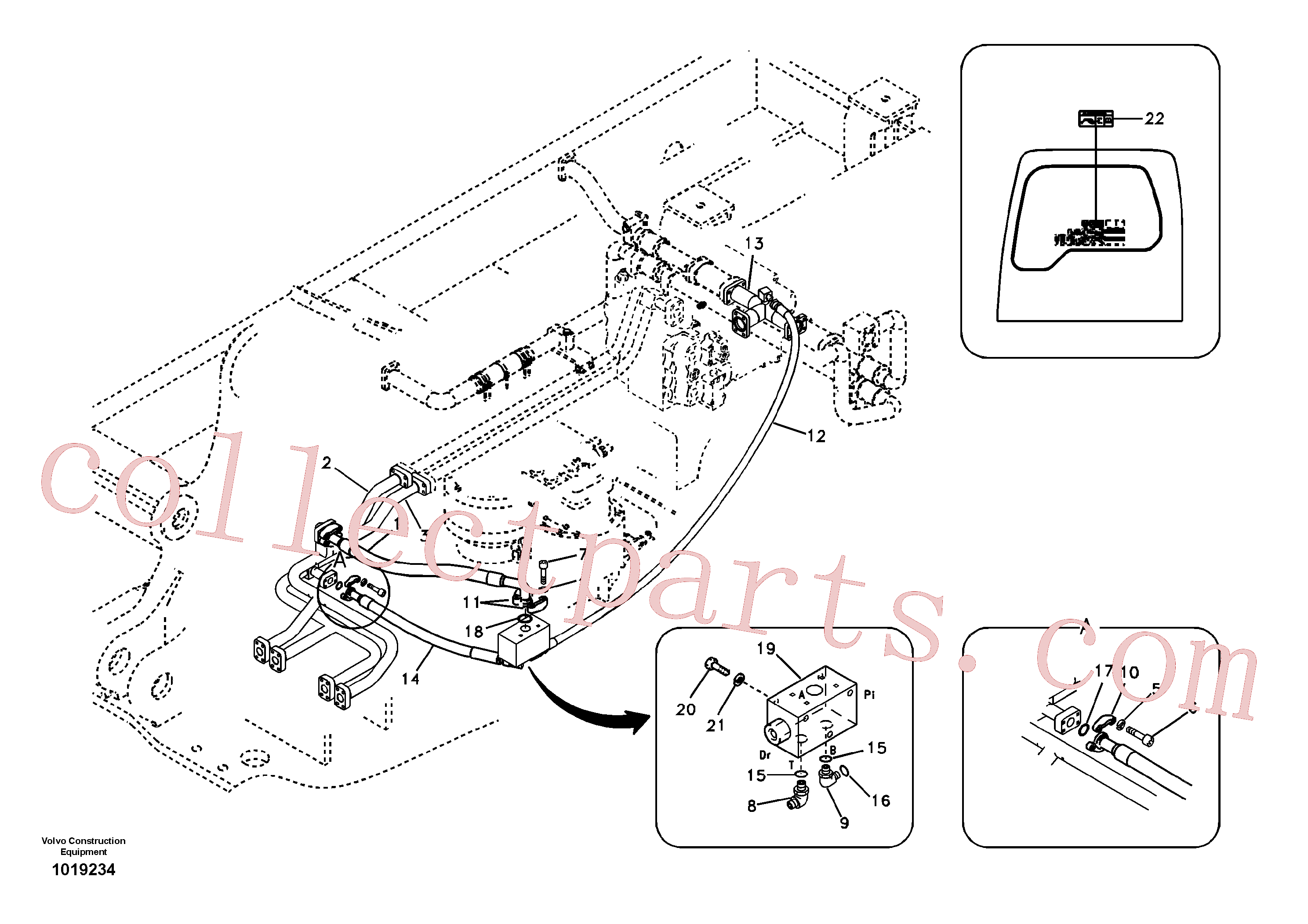 SA9404-06618 for Volvo Hydraulic system, control valve to boom and swing(1019234 assembly)