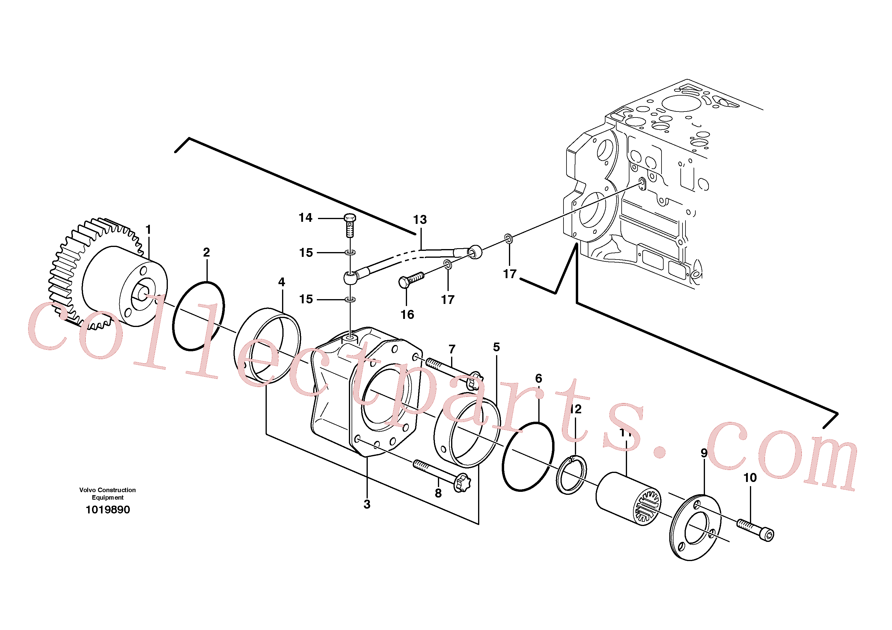 VOE20459170 for Volvo Pump drive power take-off(1019890 assembly)