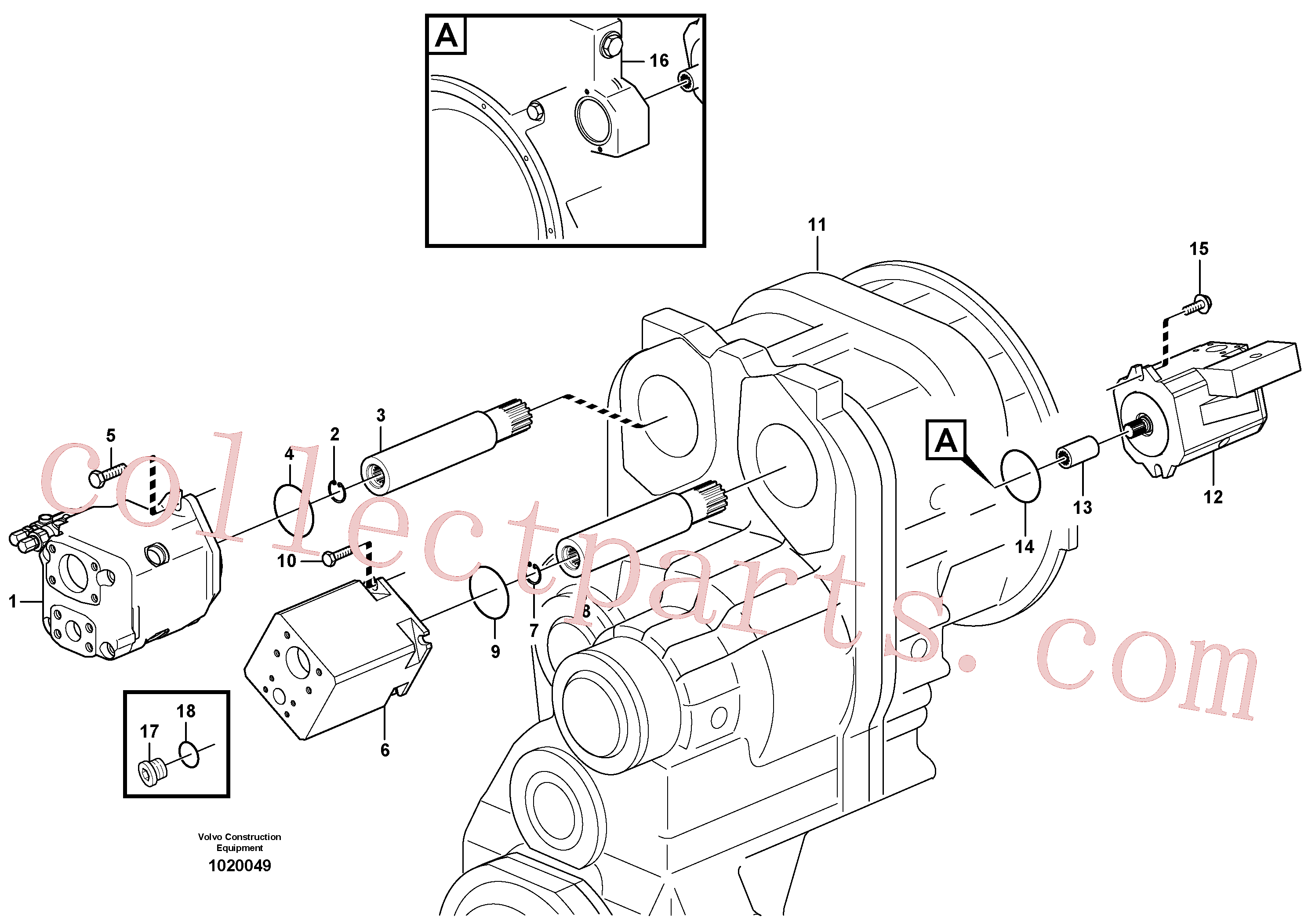 VOE11038380 for Volvo Hydraulic pump with fitting parts(1020049 assembly)