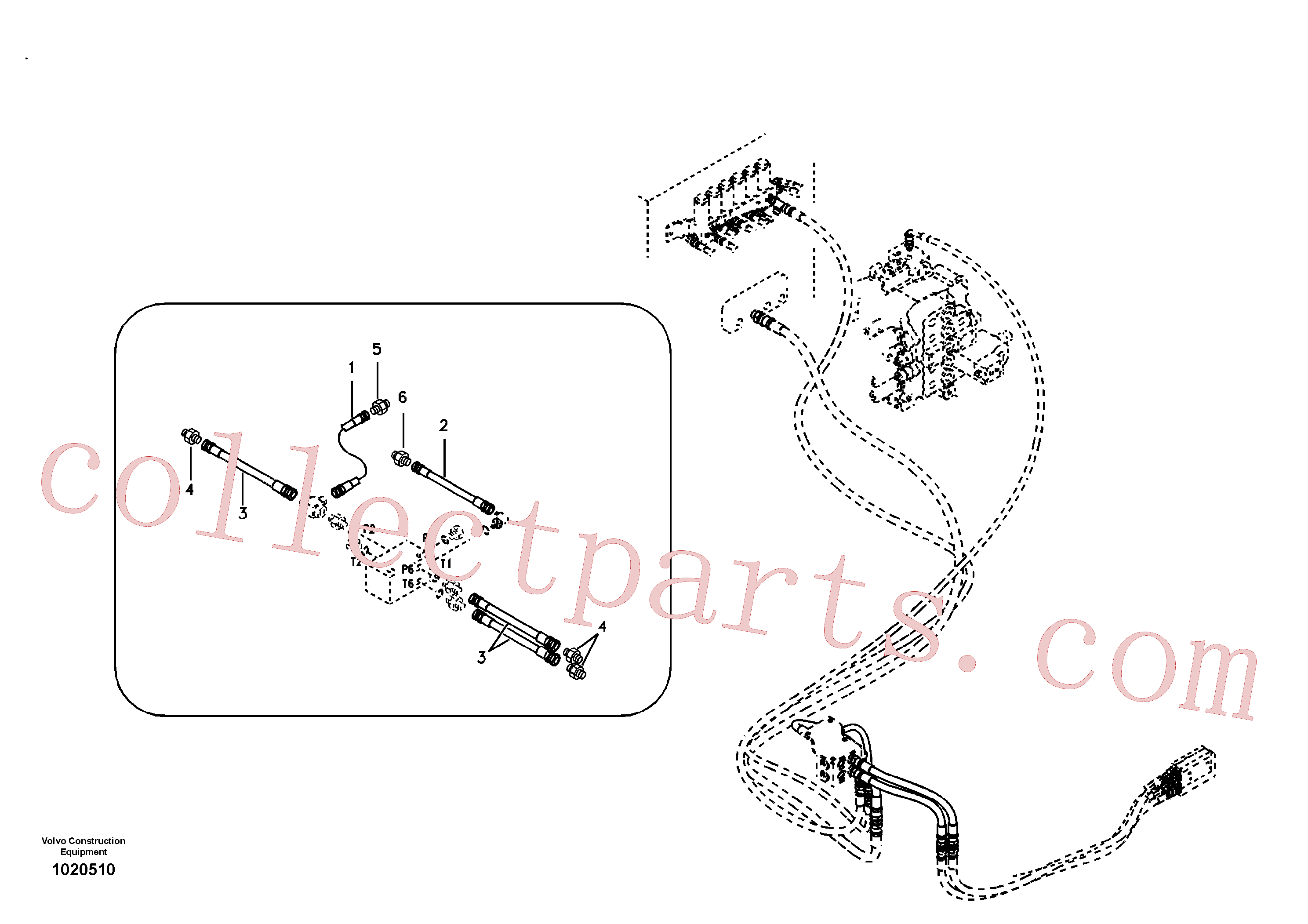 SA9451-02209 for Volvo Servo system, control valve to solenoid valve(1020510 assembly)