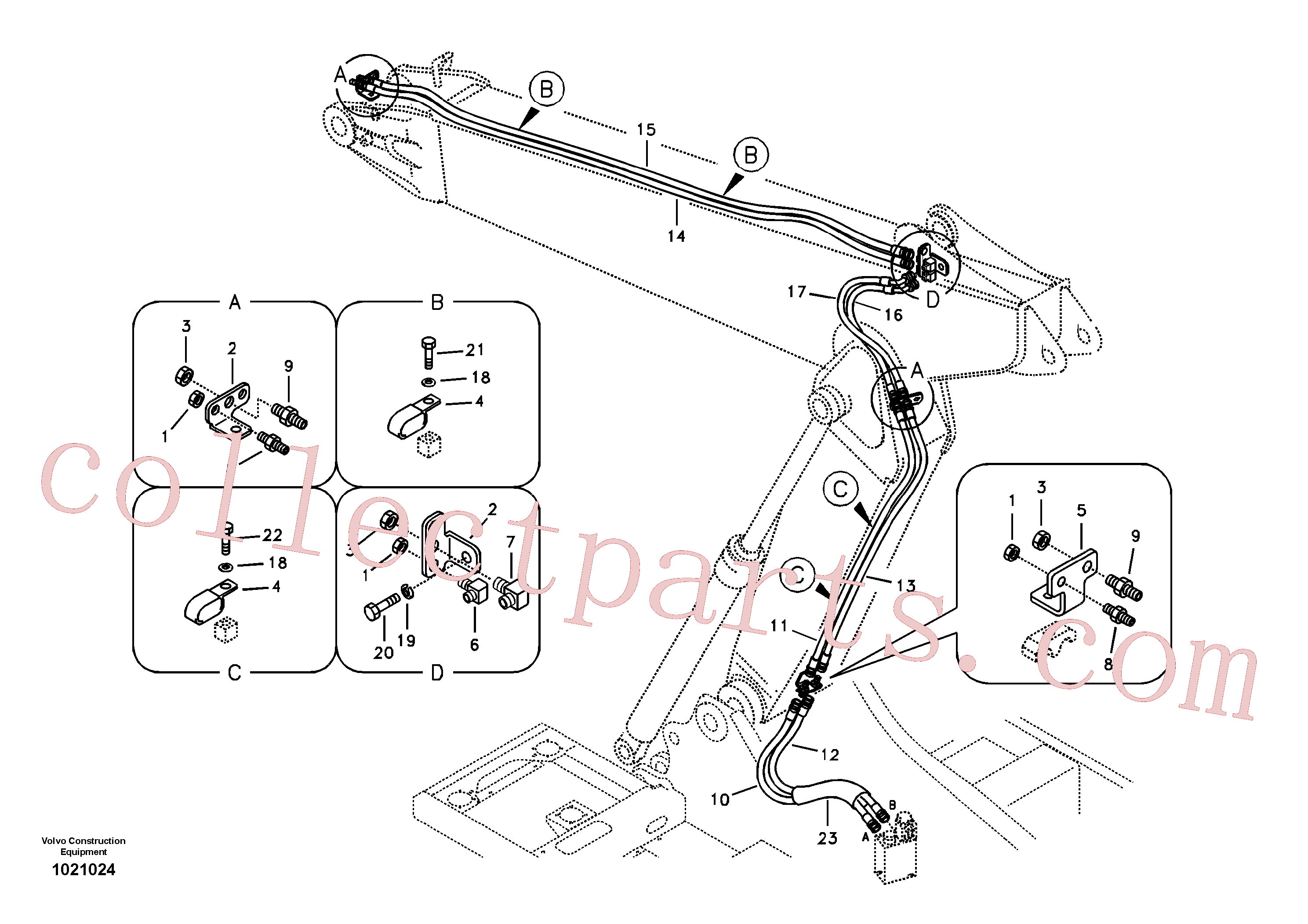 SA9451-03623 for Volvo Working hydraulic, quick fit on adjustable boom(1021024 assembly)