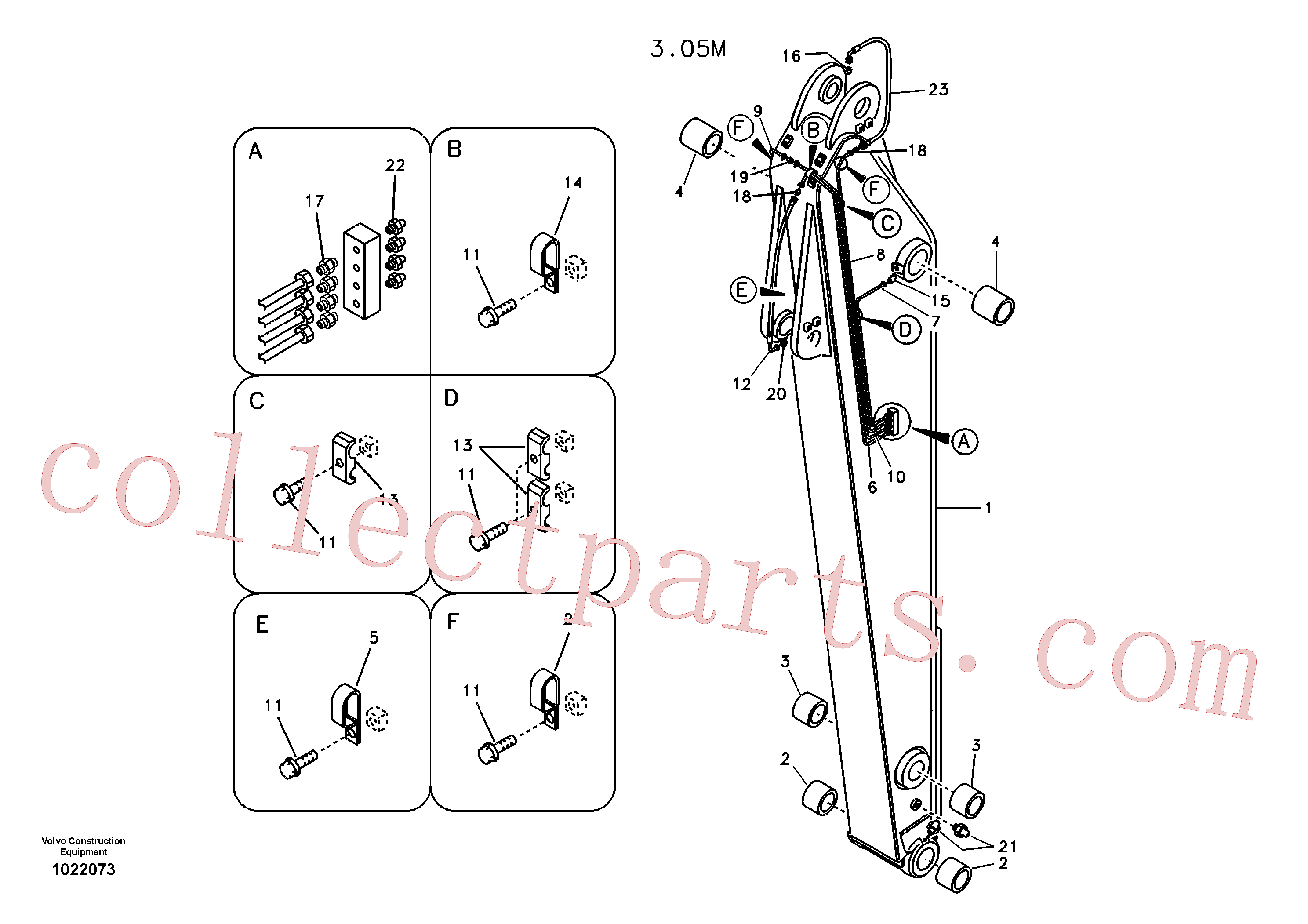 VOE14881292 for Volvo Dipper arm and grease piping with piping seat(1022073 assembly)