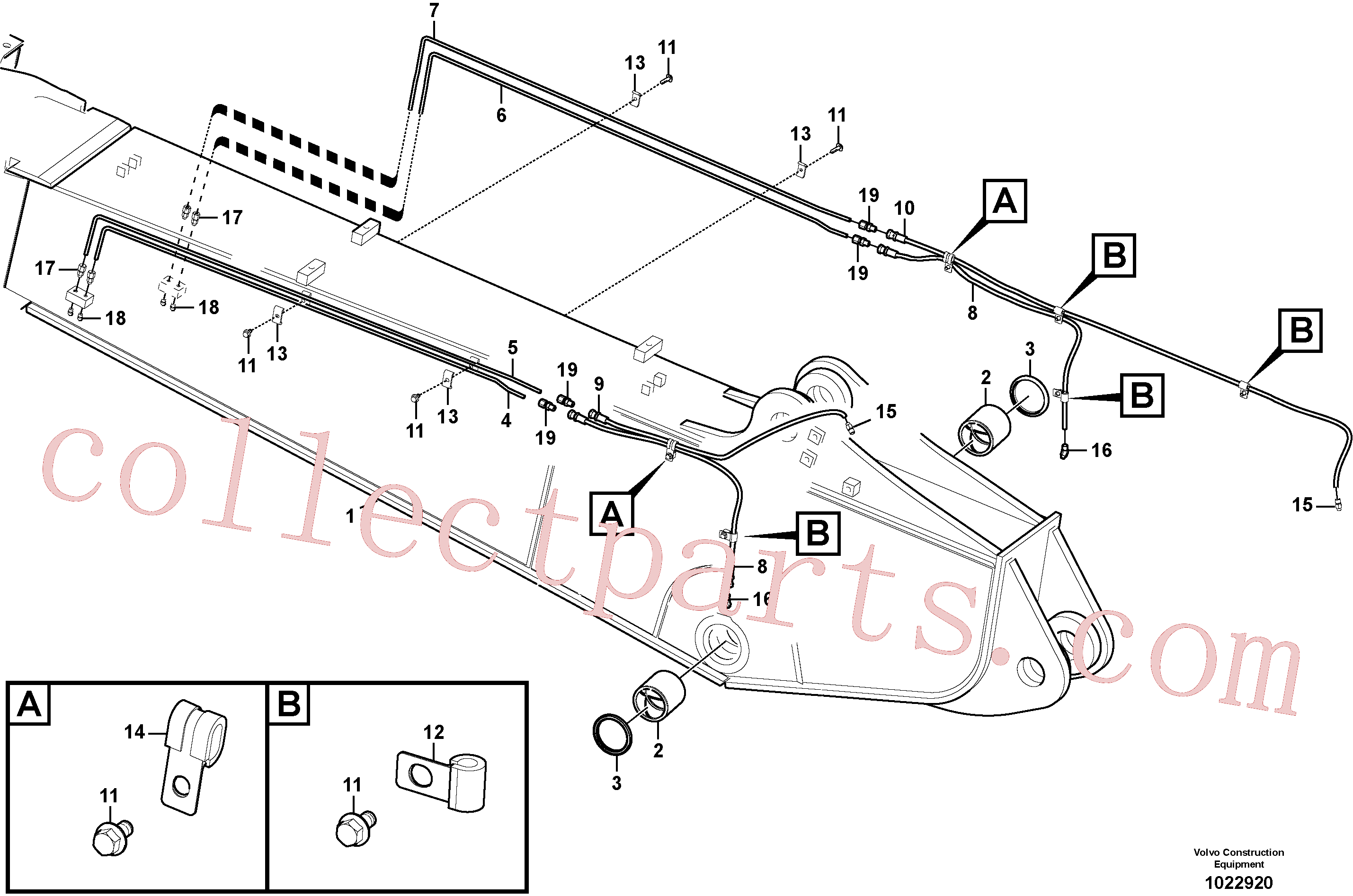 VOE14529741 for Volvo Boom and grease piping, adjustable 2nd(1022920 assembly)