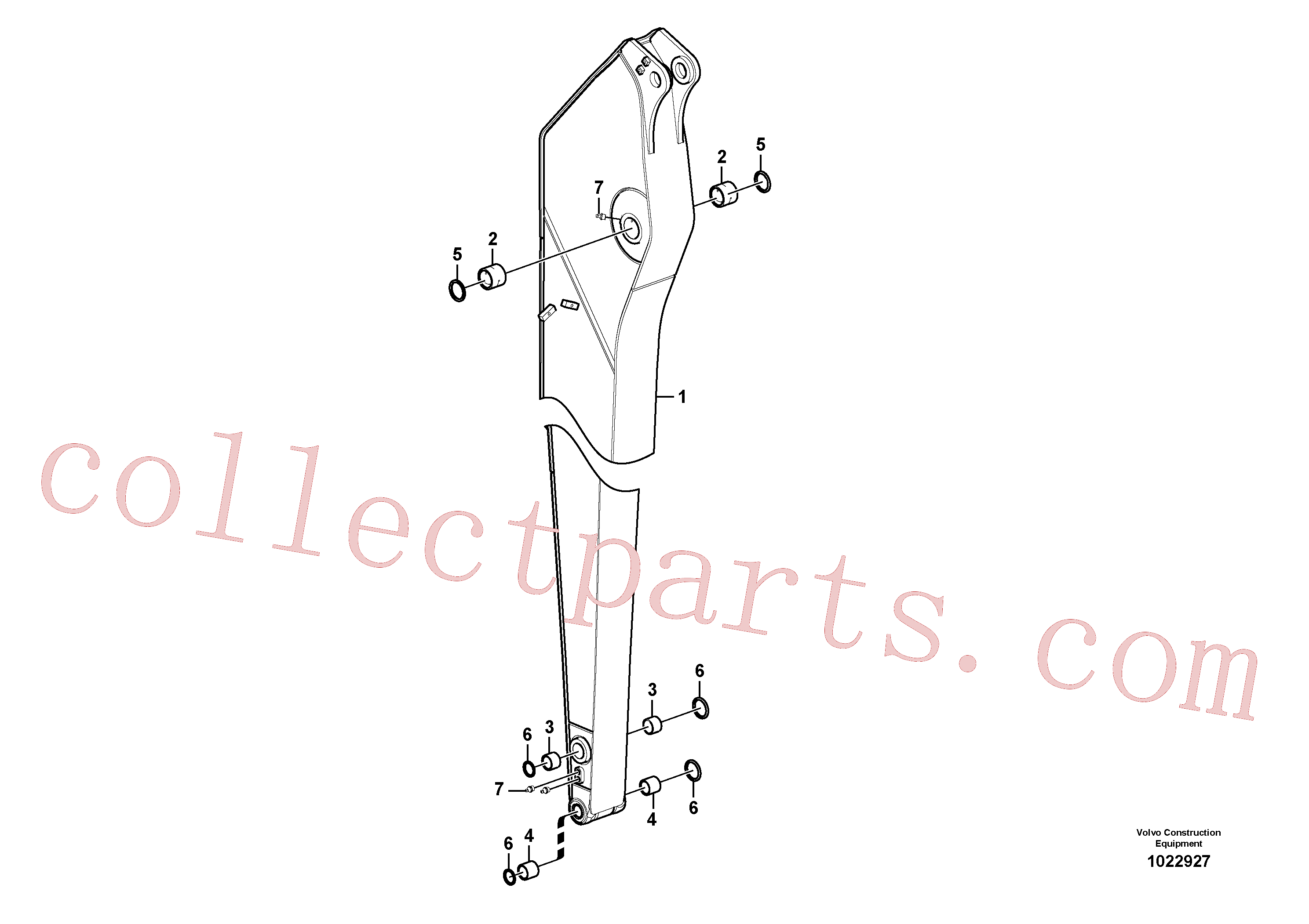 VOE14546057 for Volvo Dipper arm, long reach, Dipper arm and grease piping with piping seat, long reach(1022927 assembly)