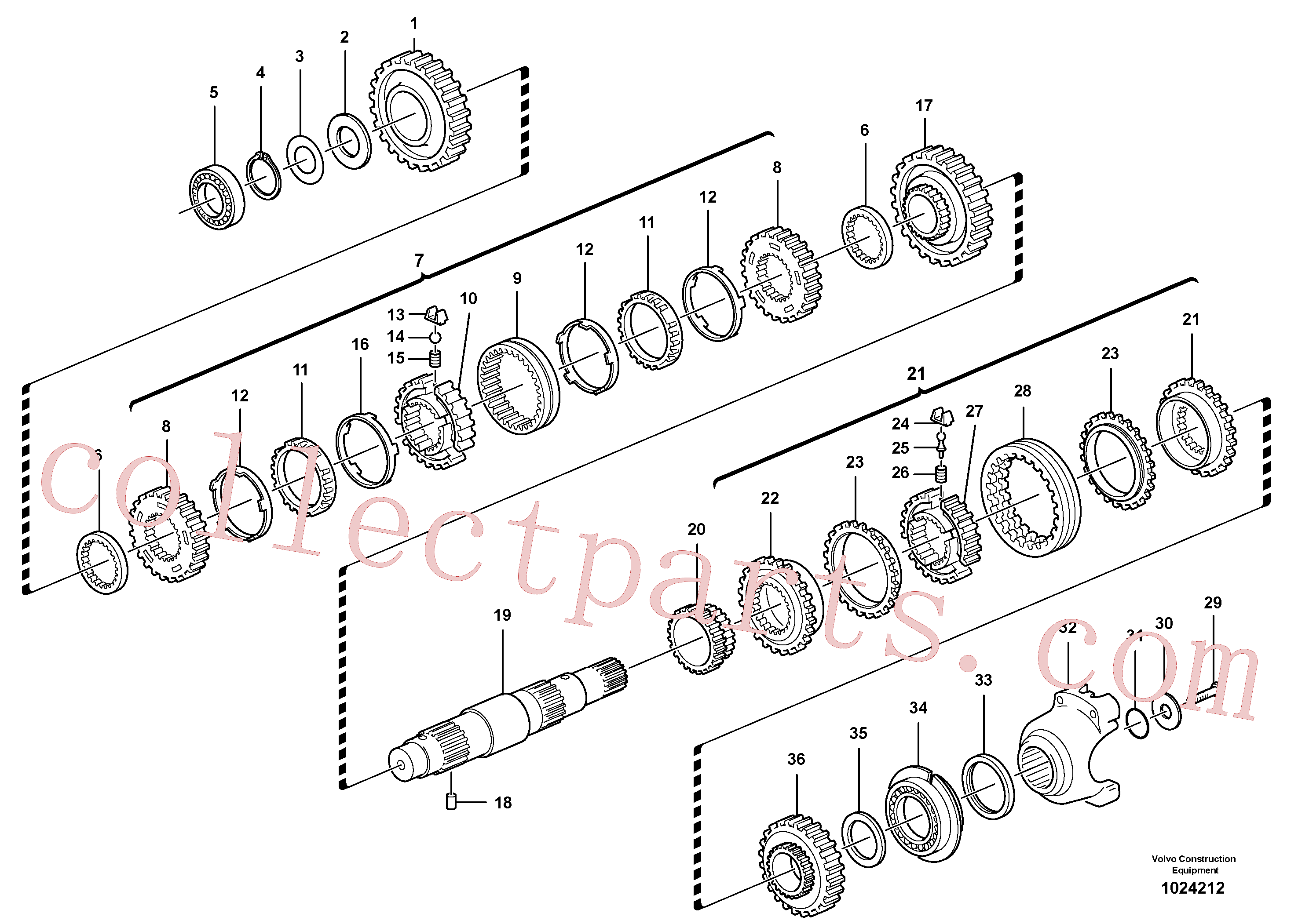 VOE11712472 for Volvo Secondary shaft(1024212 assembly)