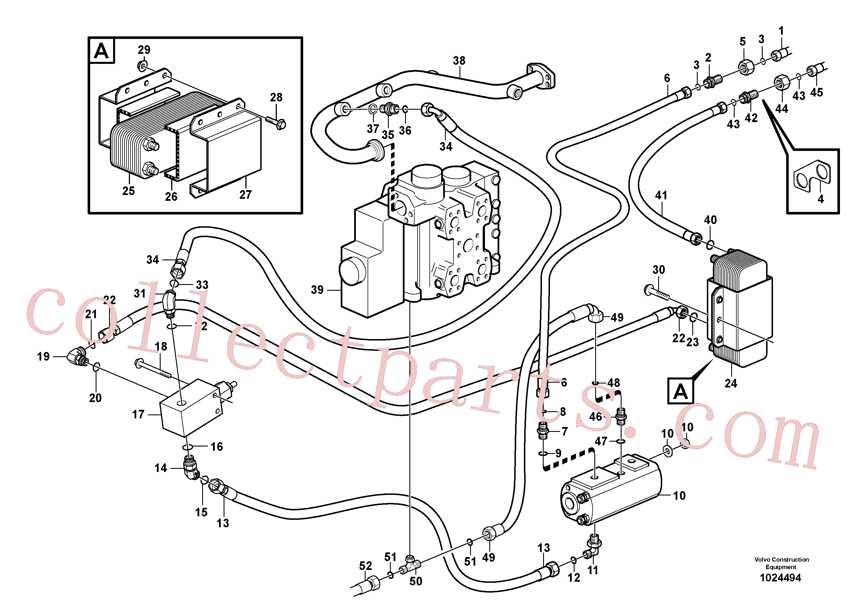 VOE13933962 for Volvo Oil cooler, forward, motor circuit.(1024494 assembly)