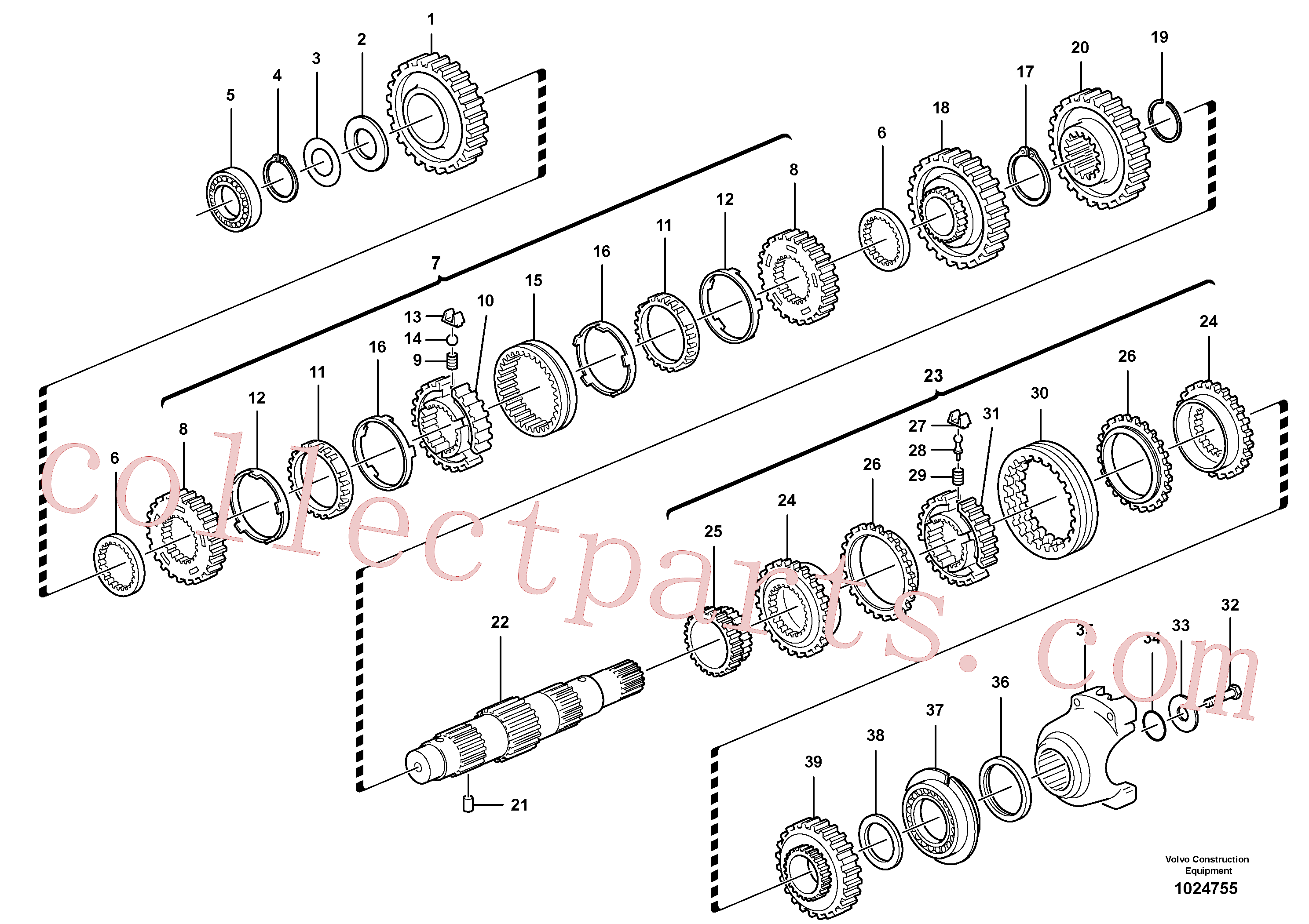 VOE11712472 for Volvo Secondary shaft(1024755 assembly)