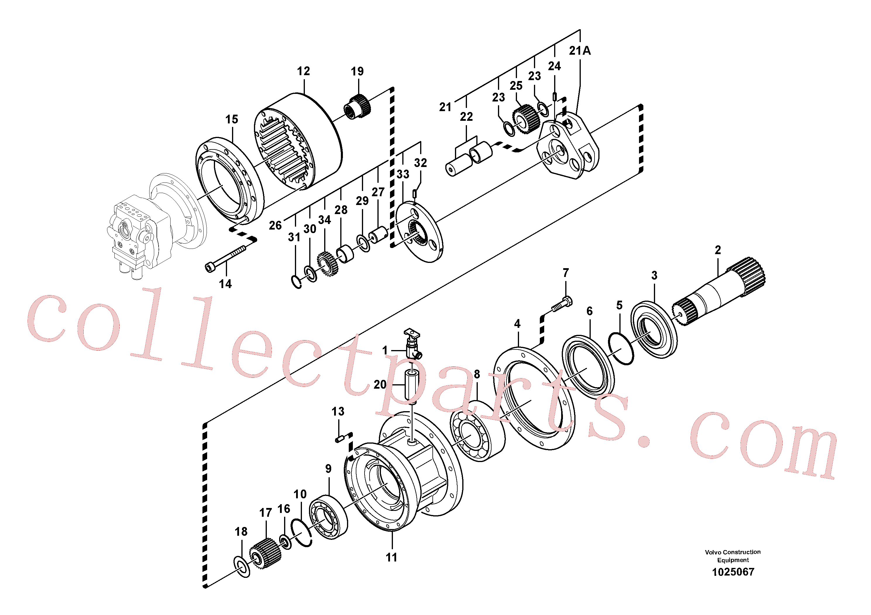 SA7118-30350 for Volvo Swing gearbox(1025067 assembly)