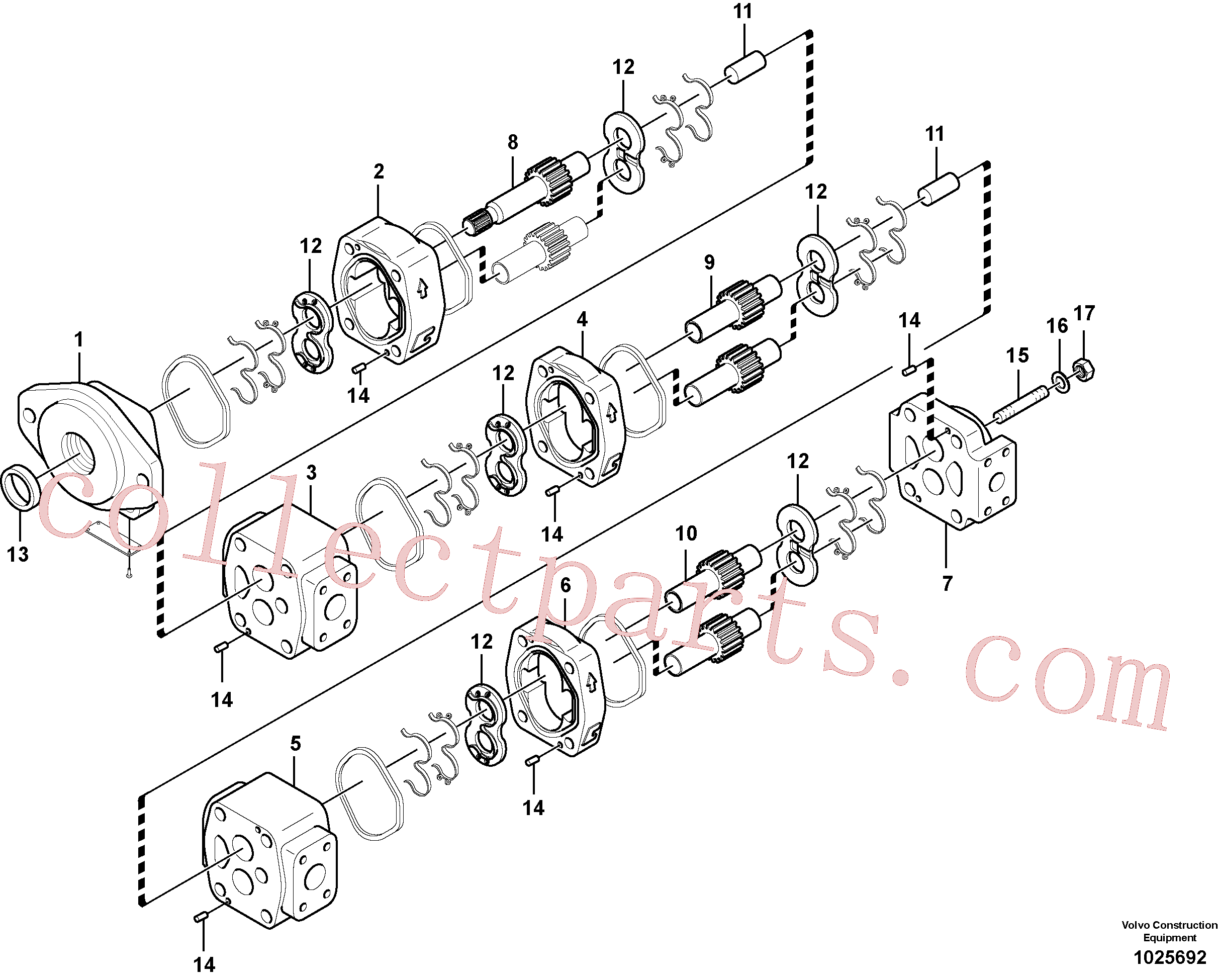 VOE14539007 for Volvo Hydraulic gear pump for quickfit and rotator(1025692 assembly)