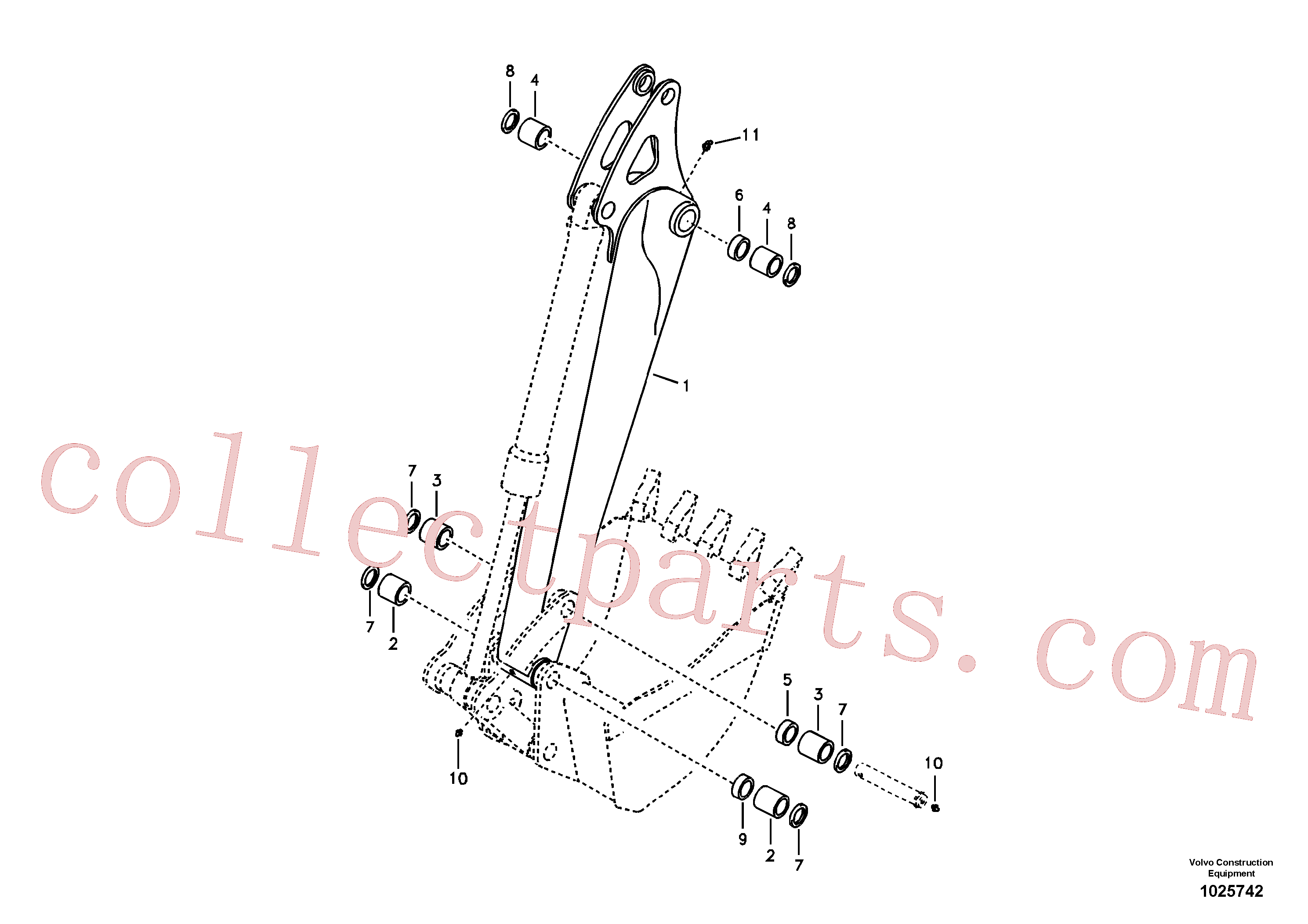 VOE14666065 for Volvo Dipper arm and grease piping with piping seat(1025742 assembly)