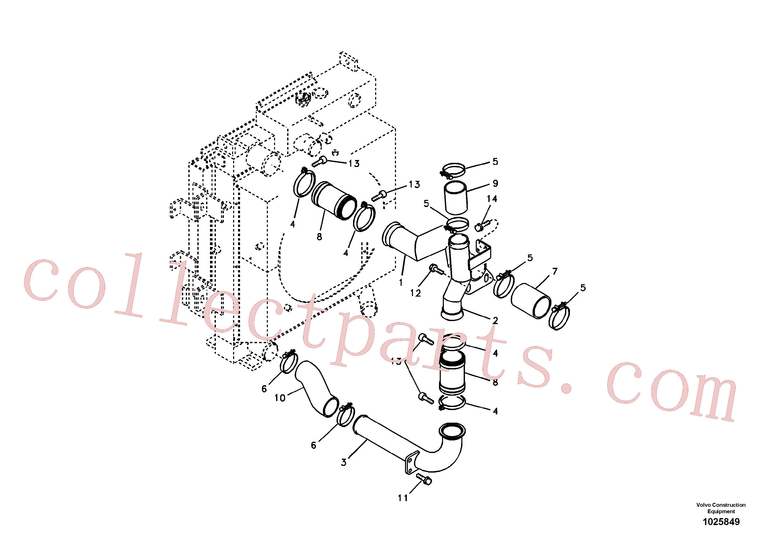 SA9313-10263 for Volvo Charge air cooler, plumbing(1025849 assembly)