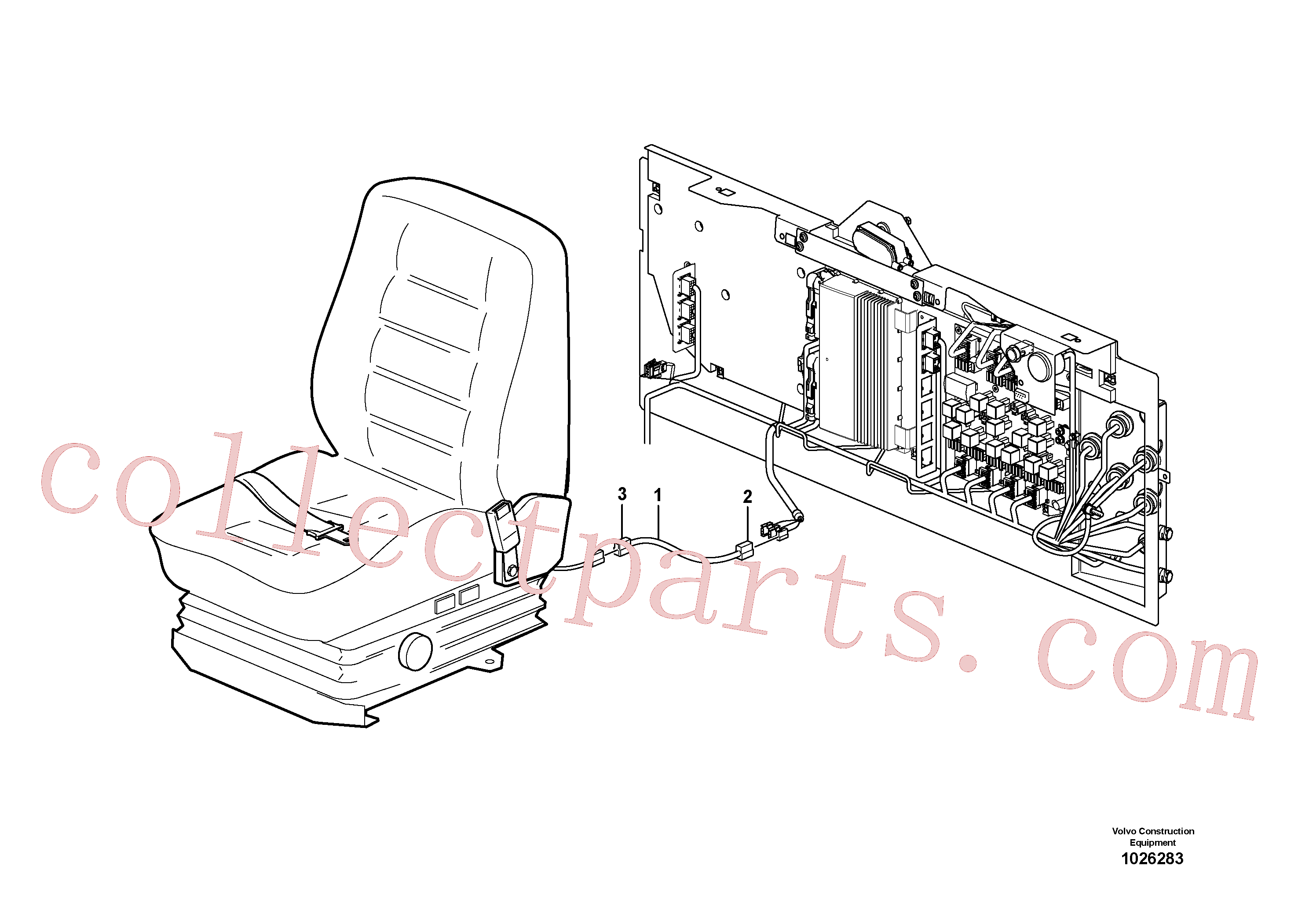 VOE948995 for Volvo Cable harness for operator seat with heating(1026283 assembly)