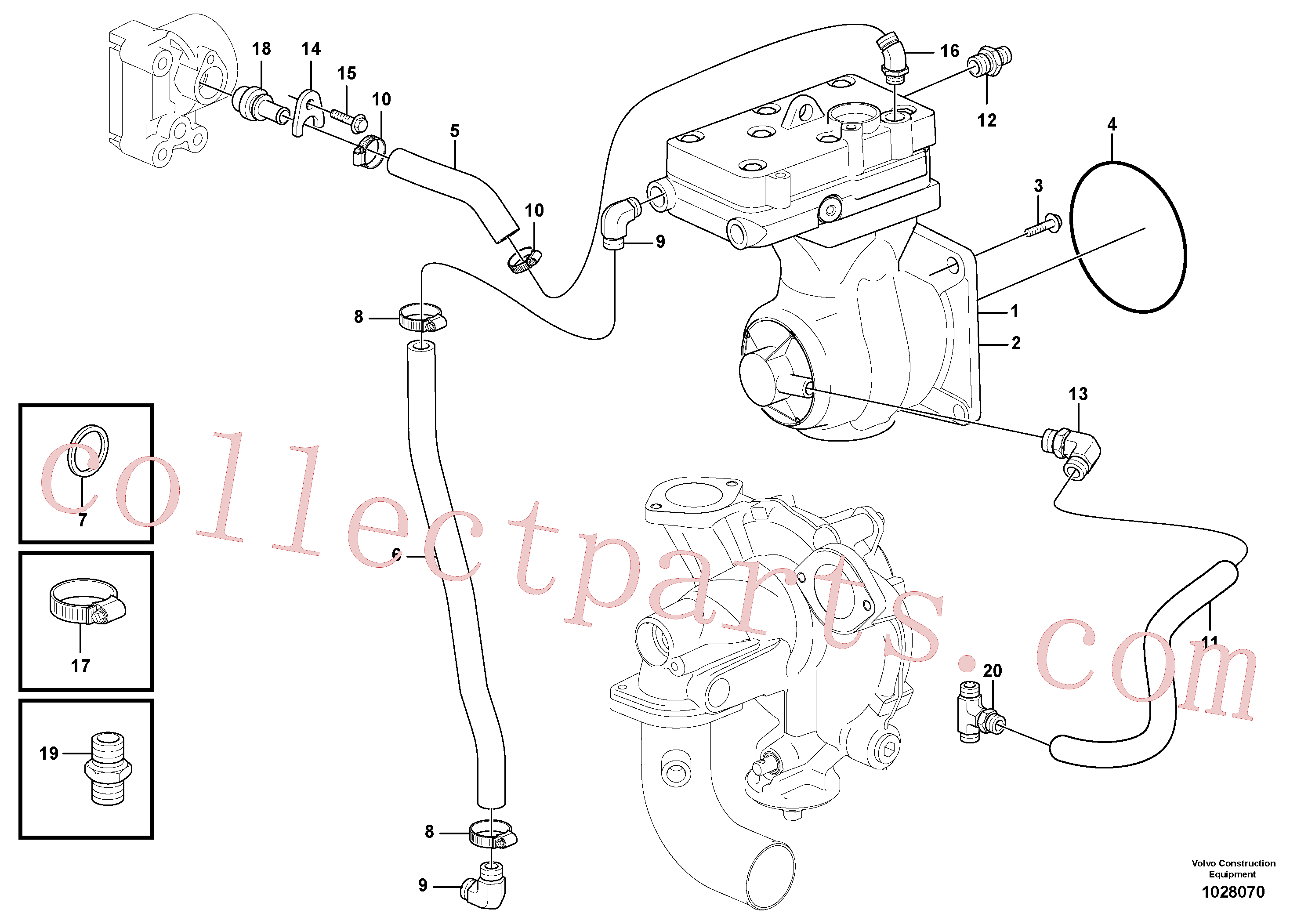 PJ4725001 for Volvo Air-compressor with fitting parts(1028070 assembly)