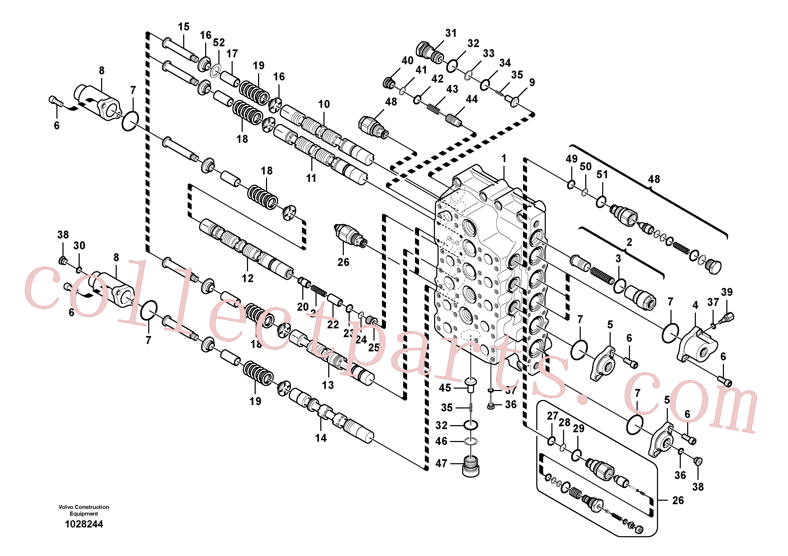 VOE983532 for Volvo Main control valve(1028244 assembly)