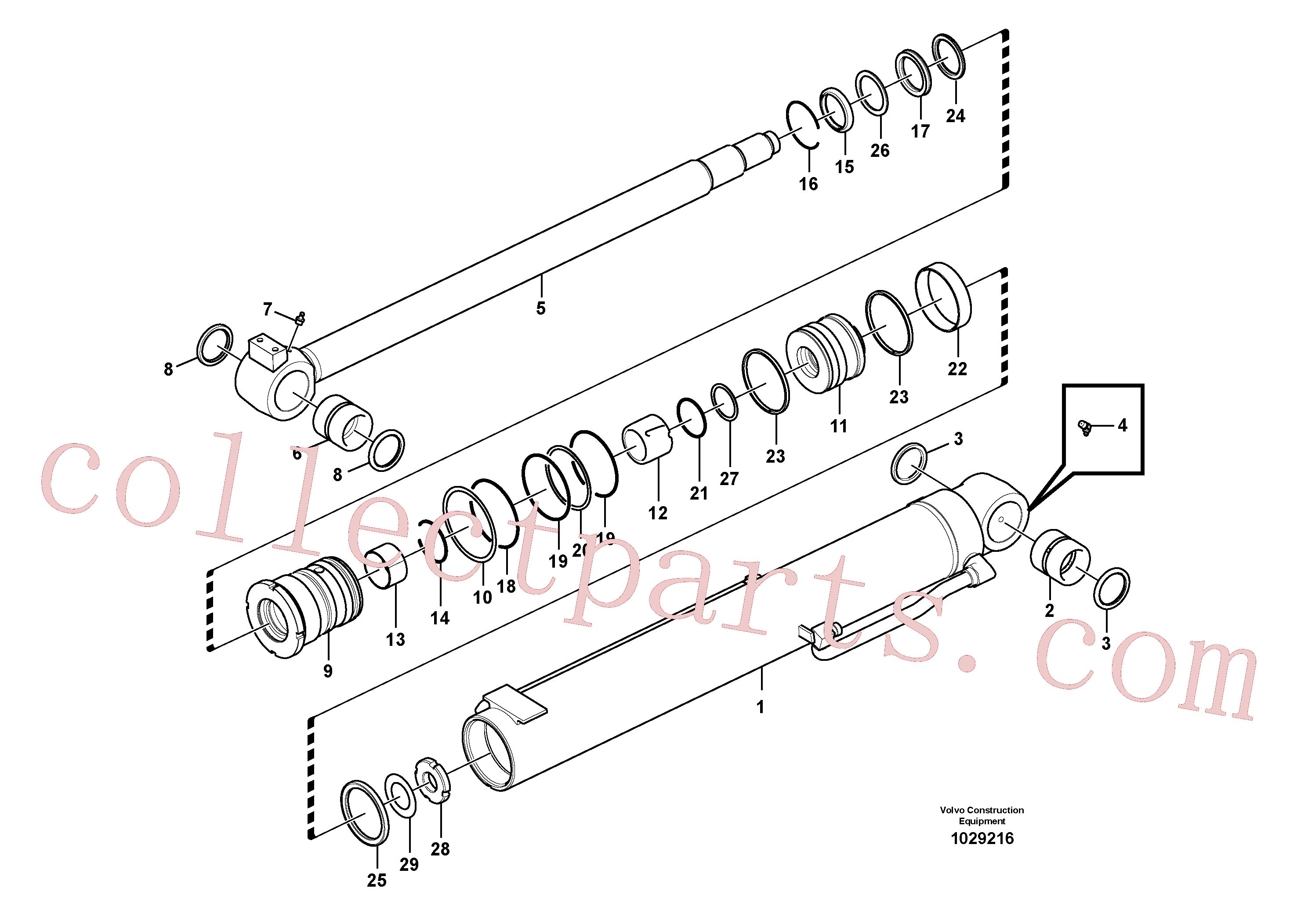 VOE14554638 for Volvo Boom cylinder(1029216 assembly)