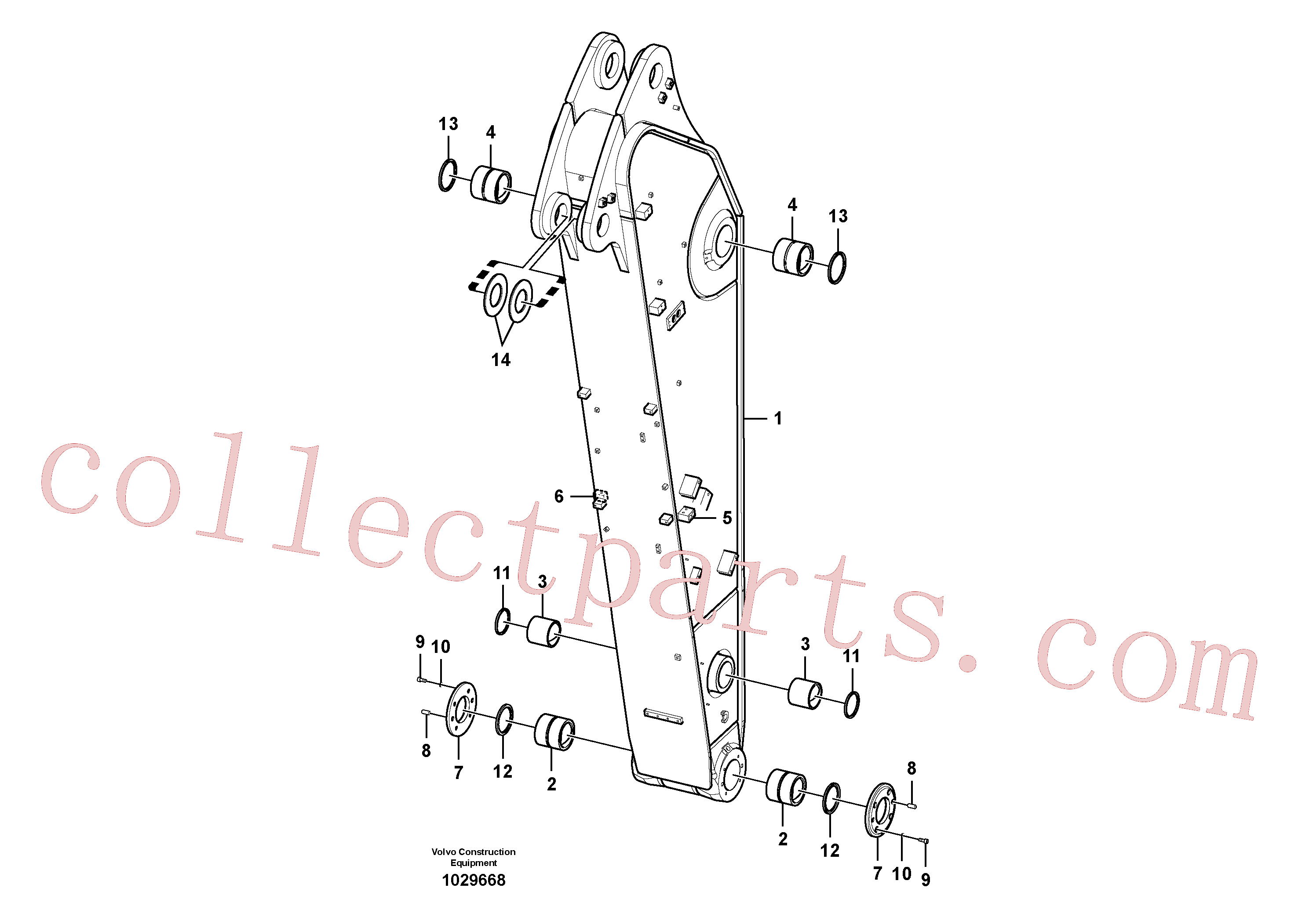 SA9324-11620 for Volvo Dipper arm and grease piping with piping seat(1029668 assembly)