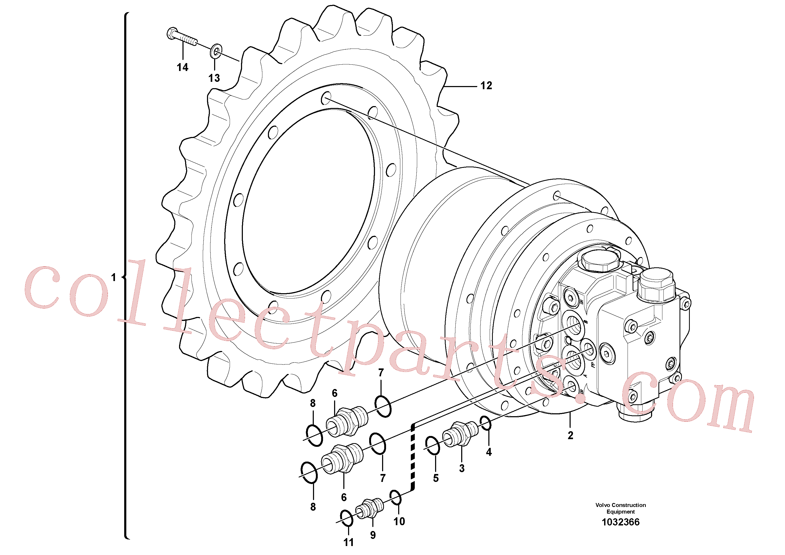 VOE15680068 for Volvo Travel motor with mounting parts(1032366 assembly)