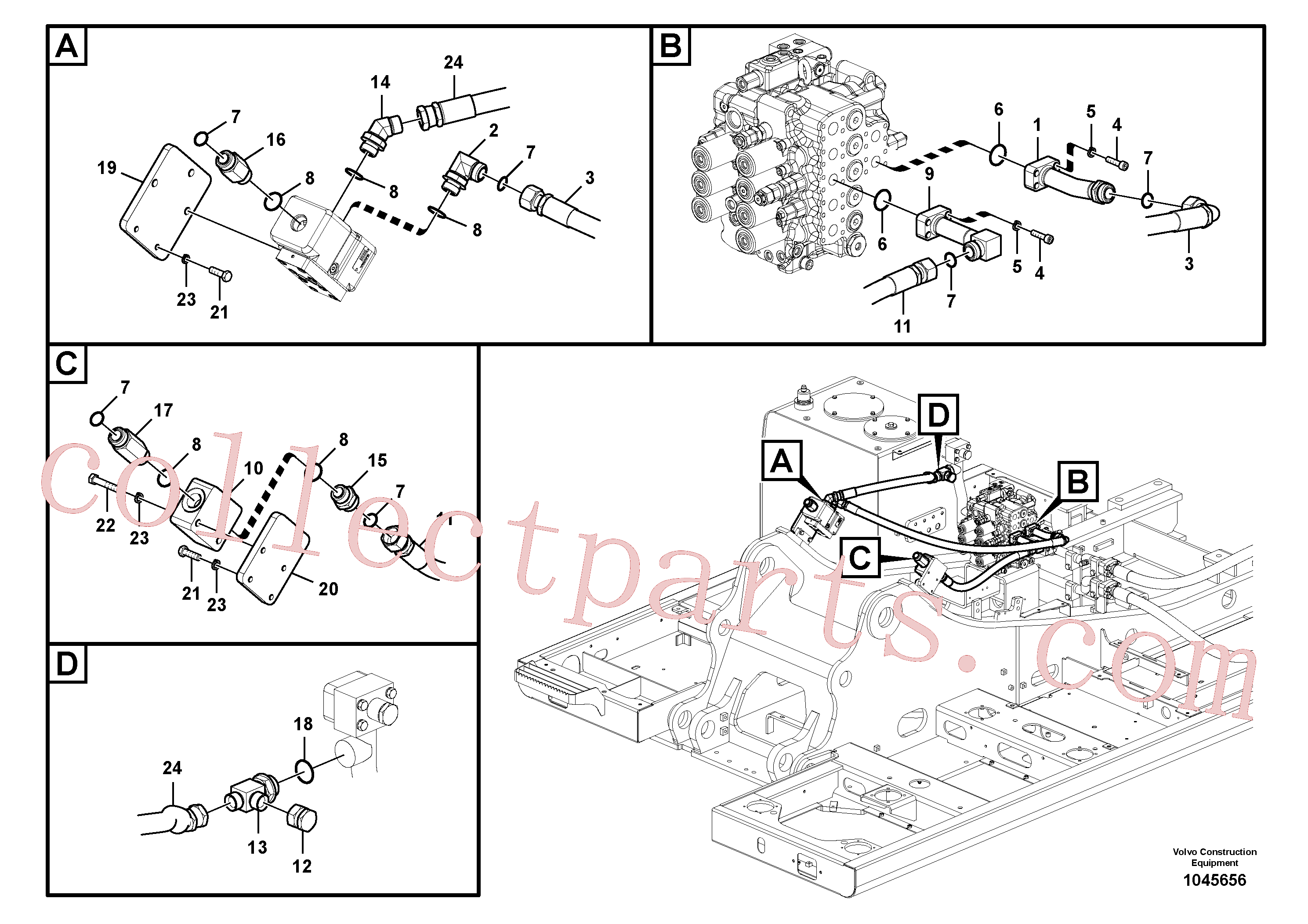 VOE14536612 for Volvo Working hydraulic, hammer and shear for upper(1045656 assembly)