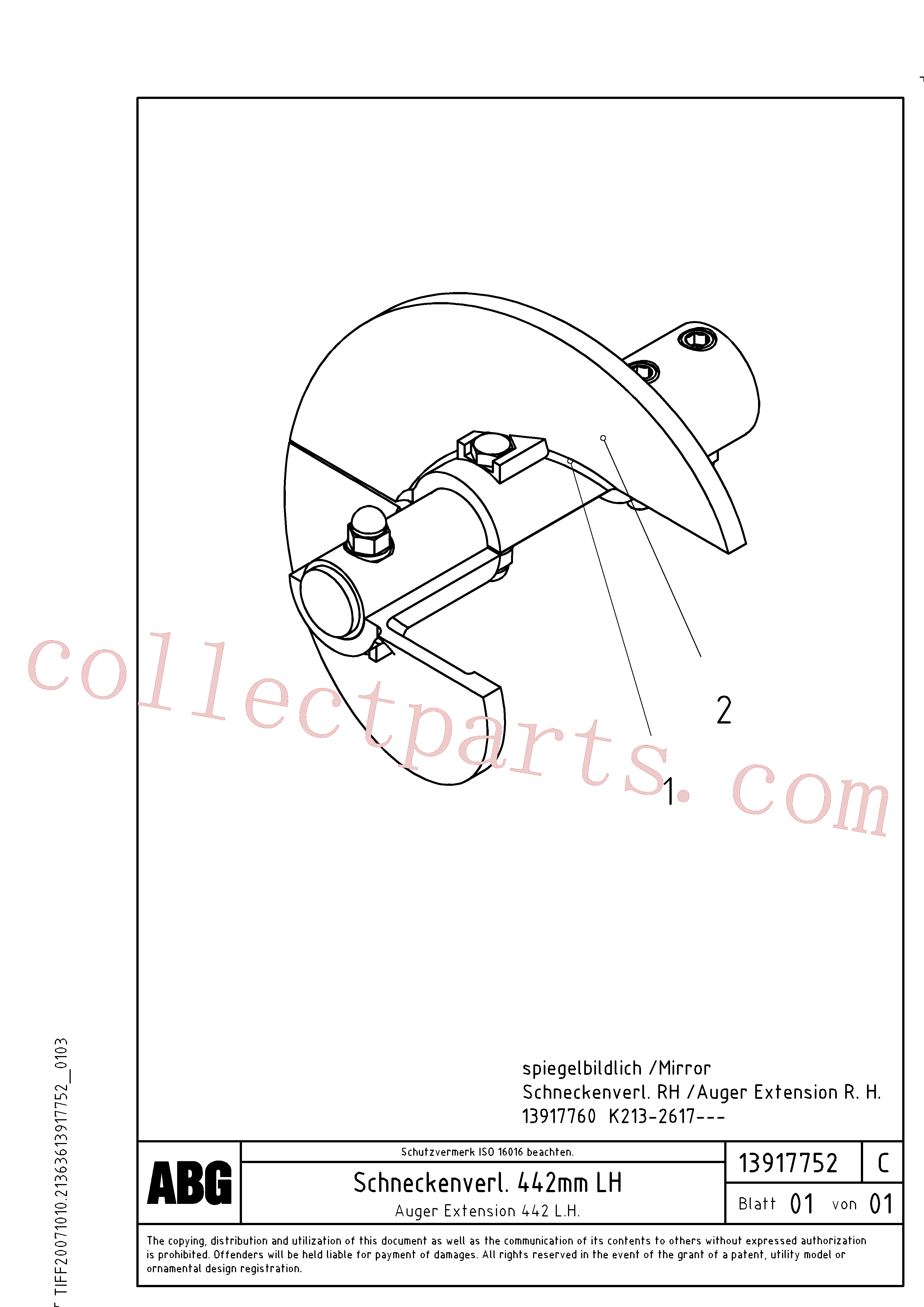 RM13917844 for Volvo Auger extension, Auger extension 442(1046101 assembly)