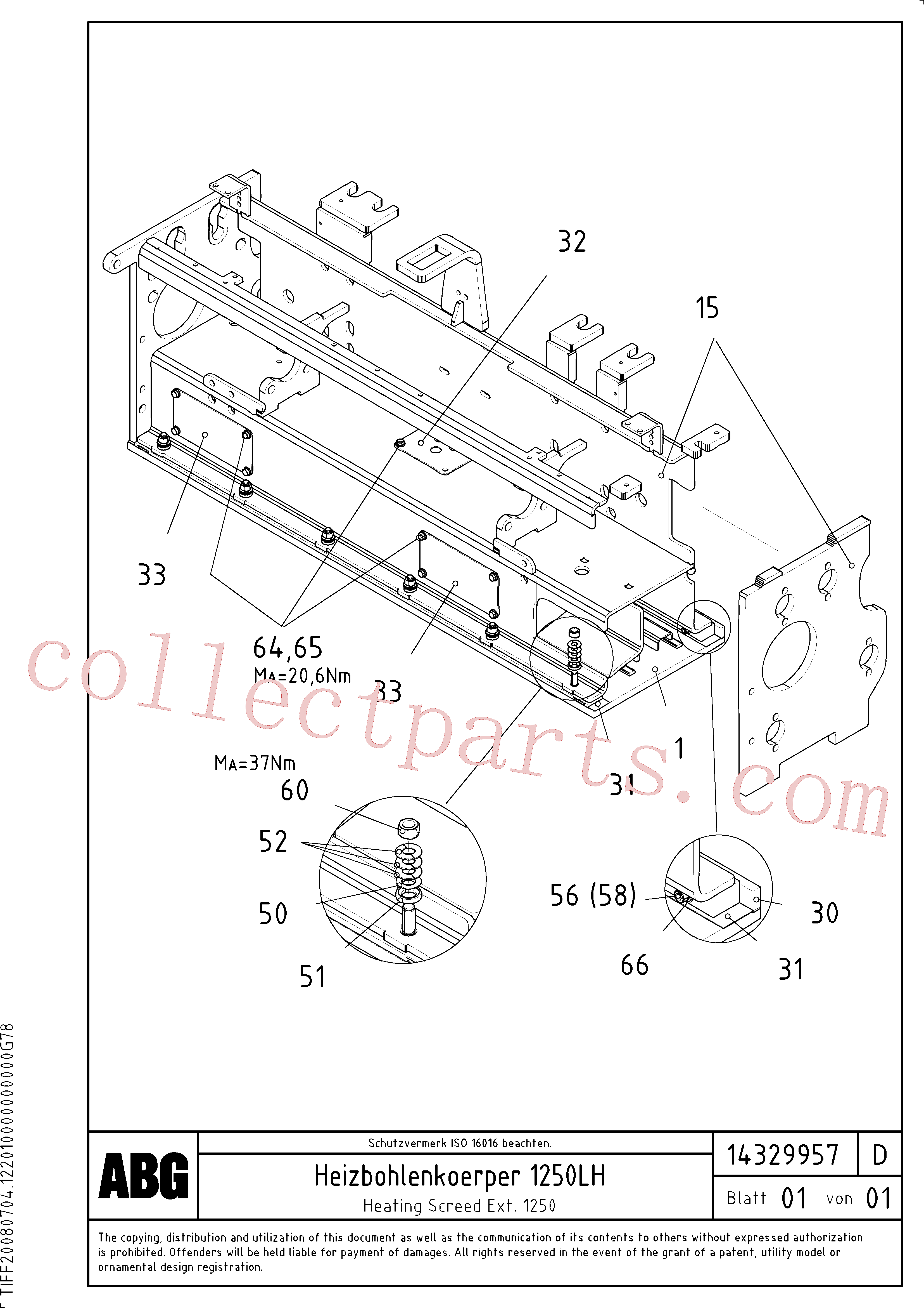 RM54527684 for Volvo Heating screed extension, Heated body for extension(1046343 assembly)
