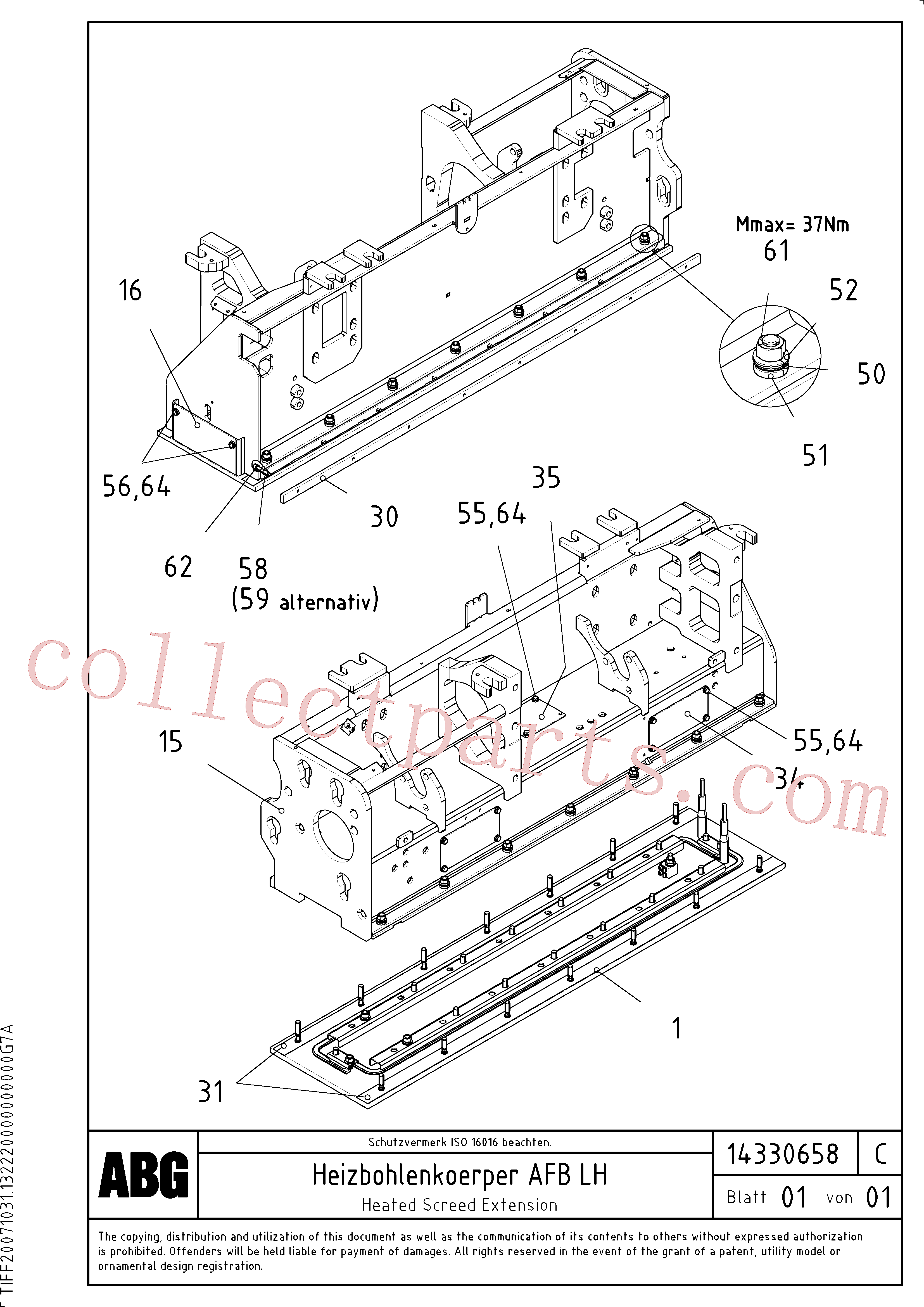RM58838293 for Volvo Heated body for extendable screed(1046354 assembly)