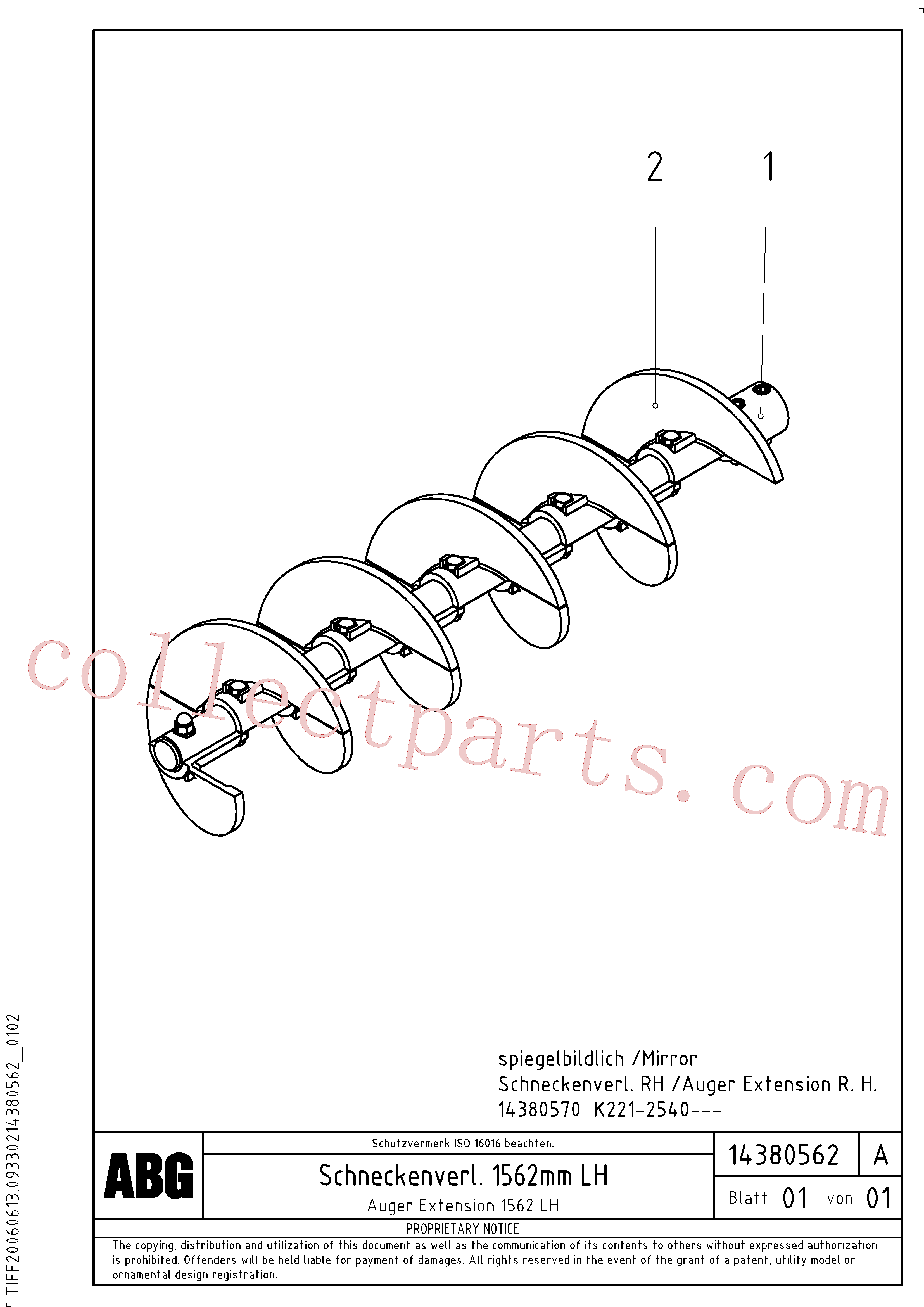 RM13917844 for Volvo Auger extension, Auger extension 1562(1046378 assembly)