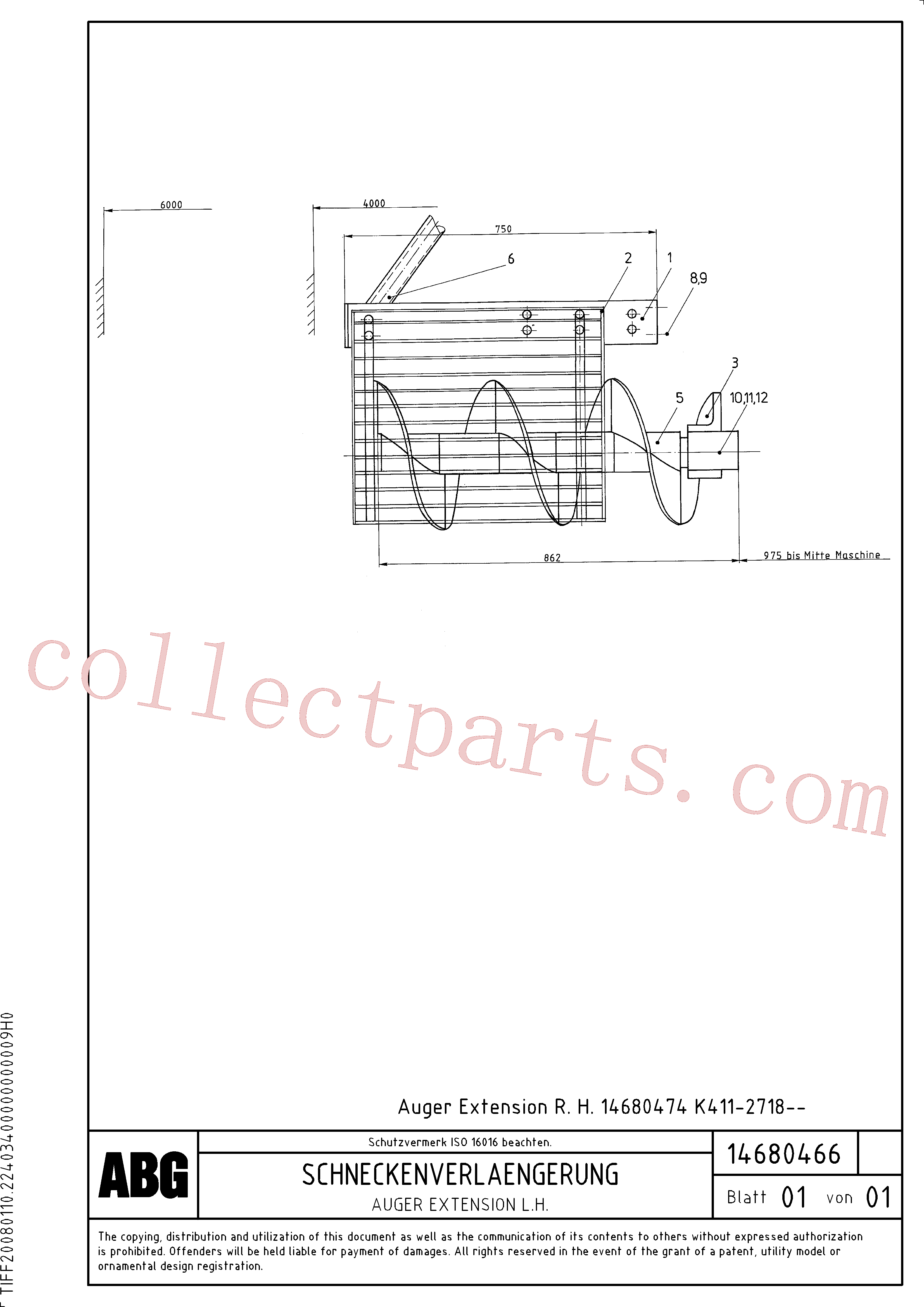 RM13917844 for Volvo Auger extension(1046461 assembly)