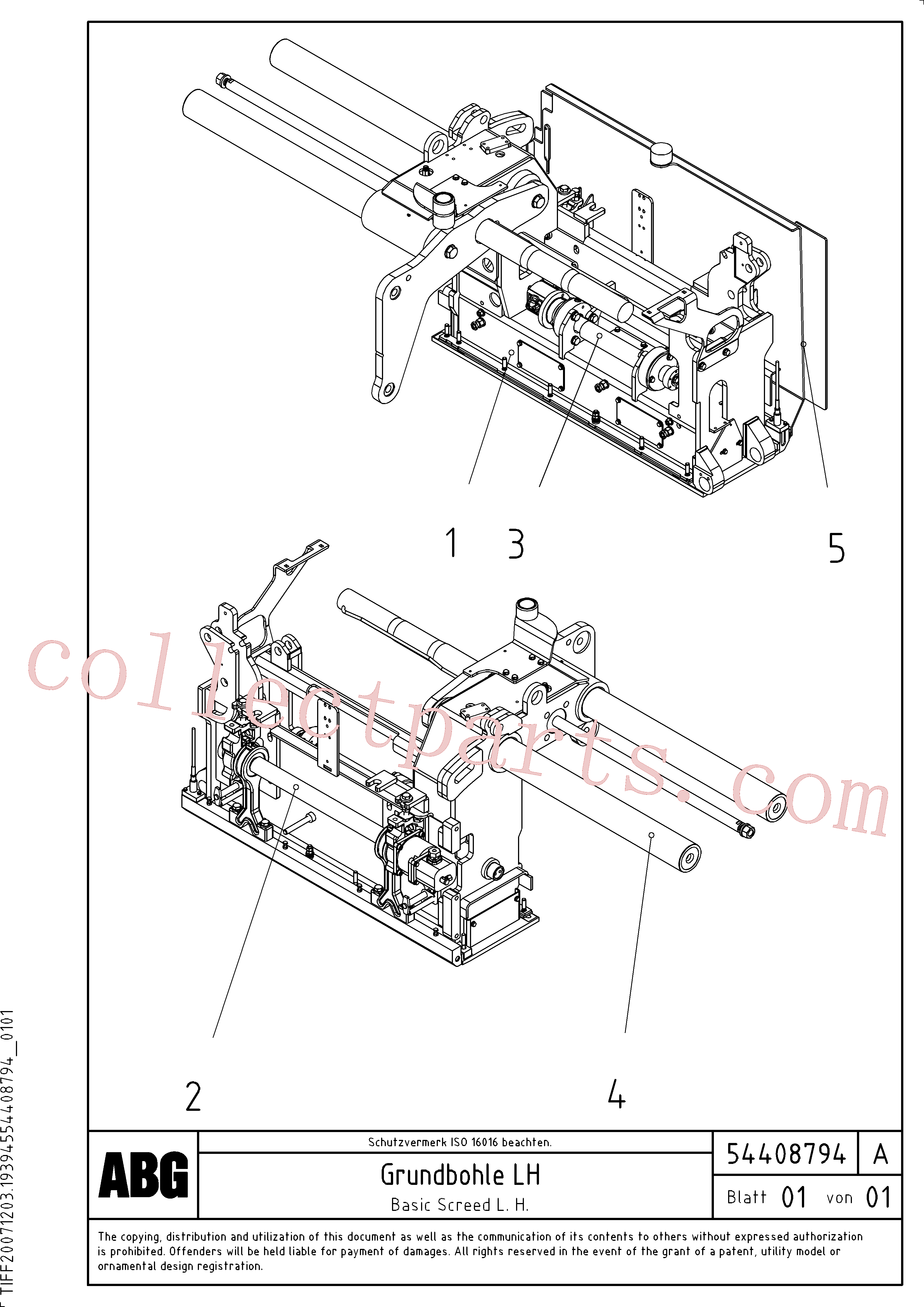 RM56294440 for Volvo Basic screed(1046556 assembly)