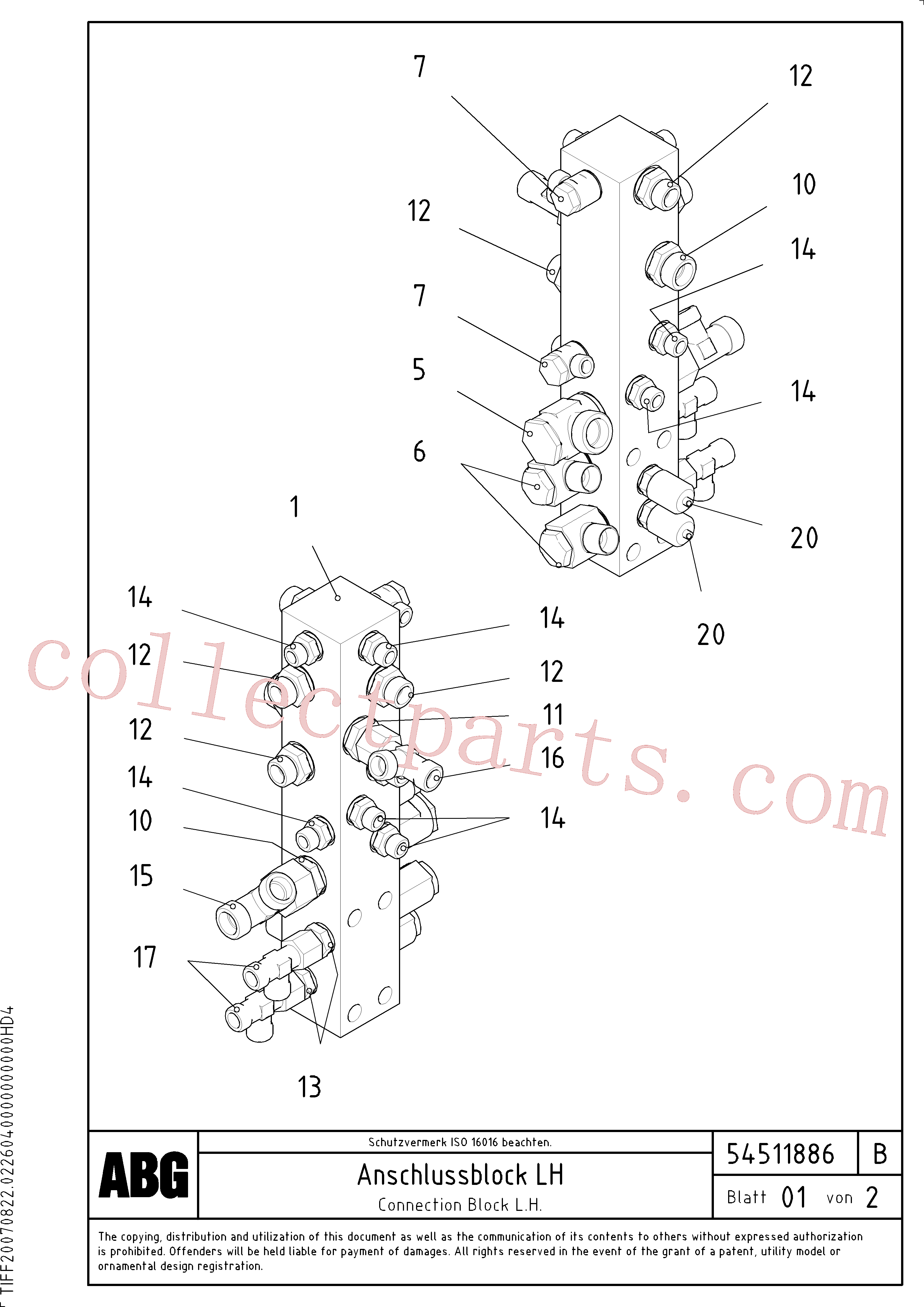 RM14149066 for Volvo Connection block on basic screed(1046662 assembly)