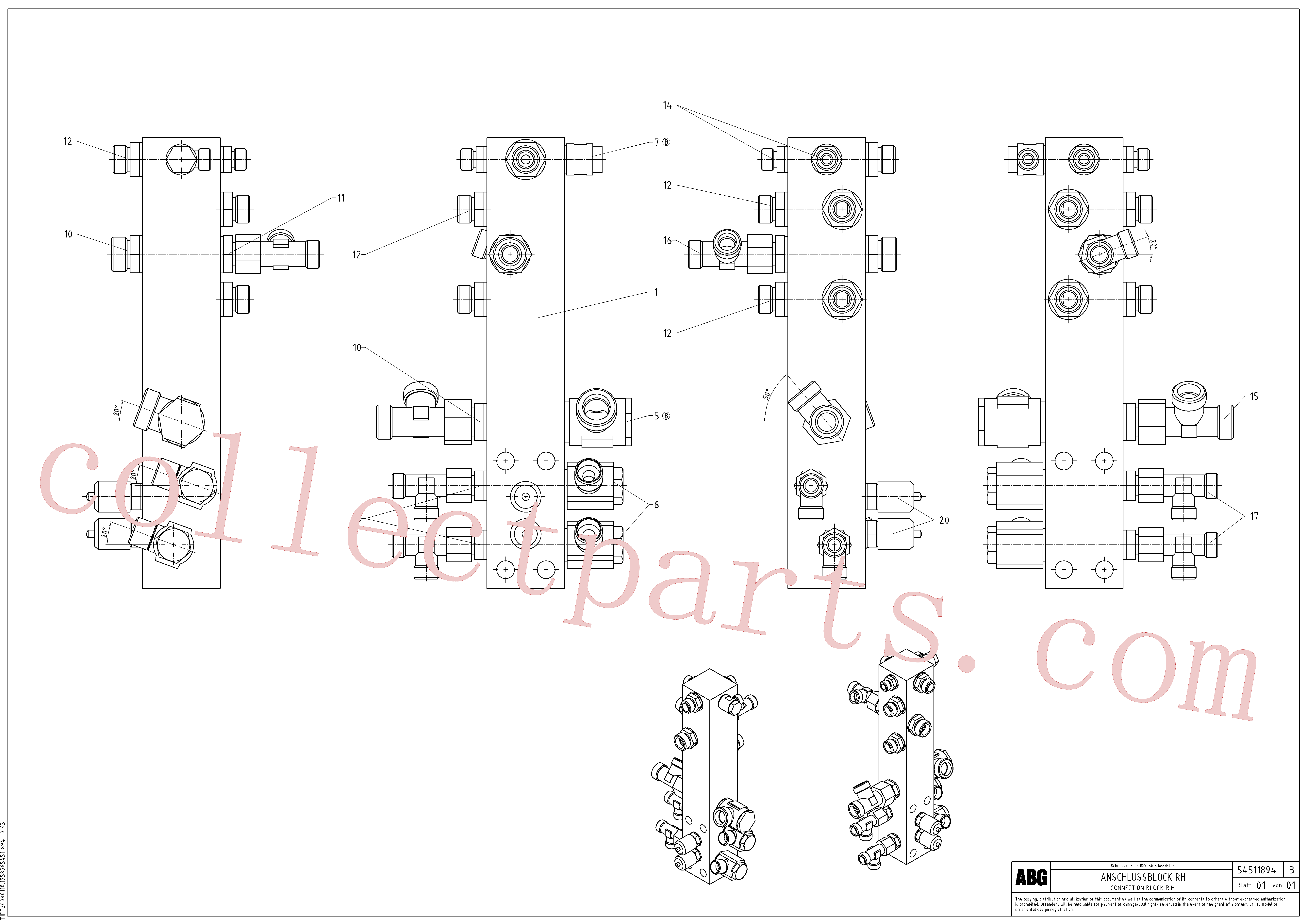 RM14149066 for Volvo Connection block on basic screed(1046663 assembly)