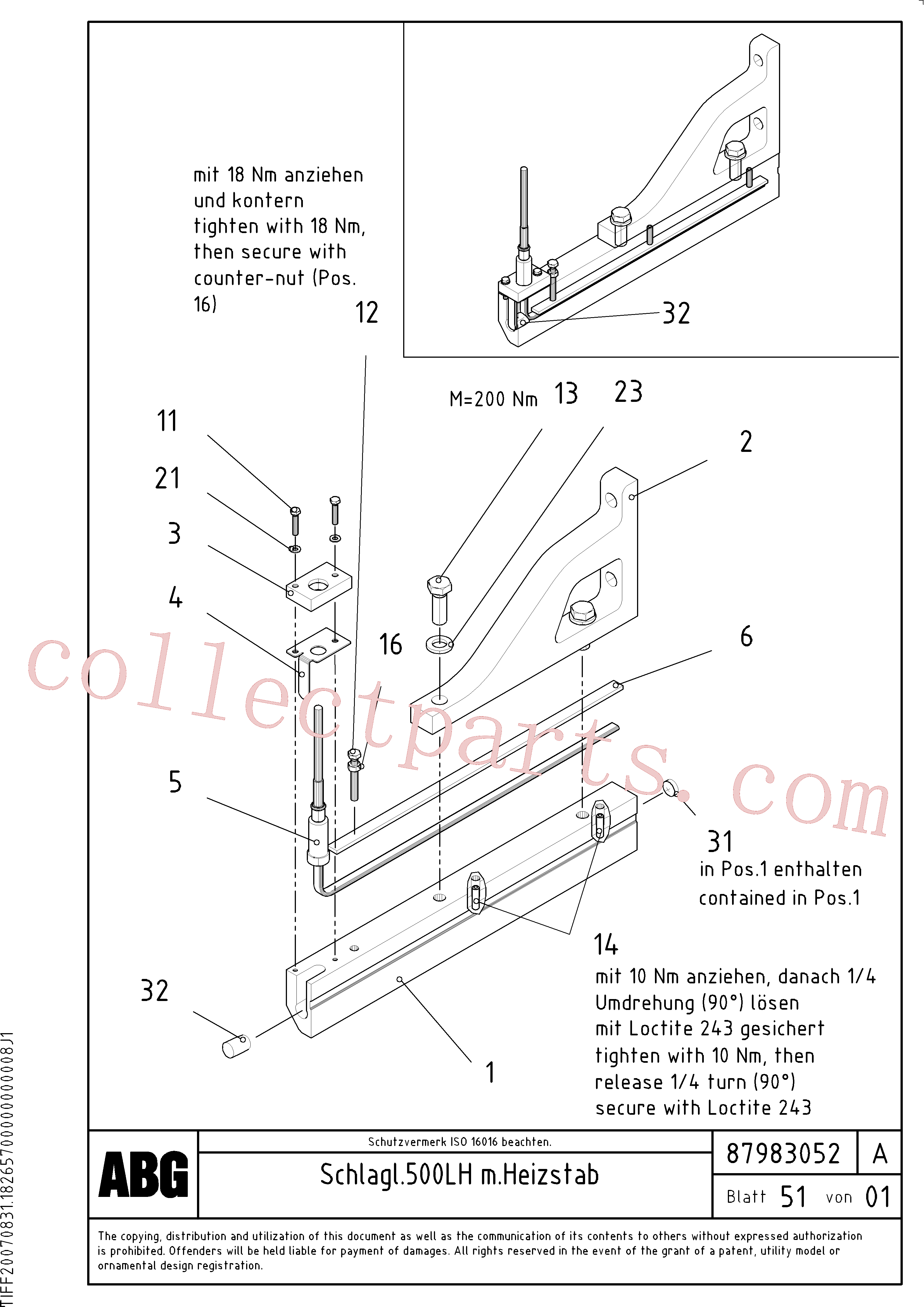 RM14083349 for Volvo Tamper knife edge with heating, for extension(1048272 assembly)