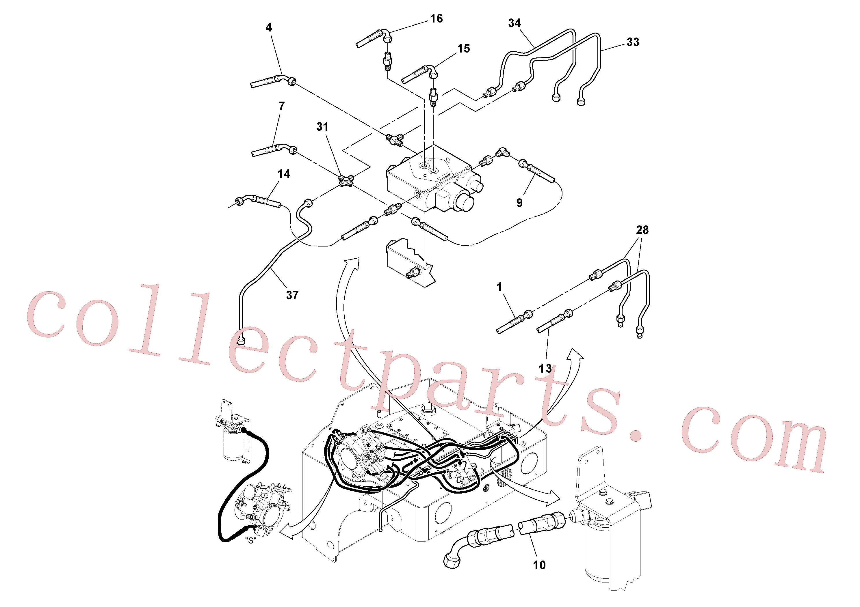 RM59197350 for Volvo Hydraulic Hoses/Tube Clamp Installation(1049174 assembly)