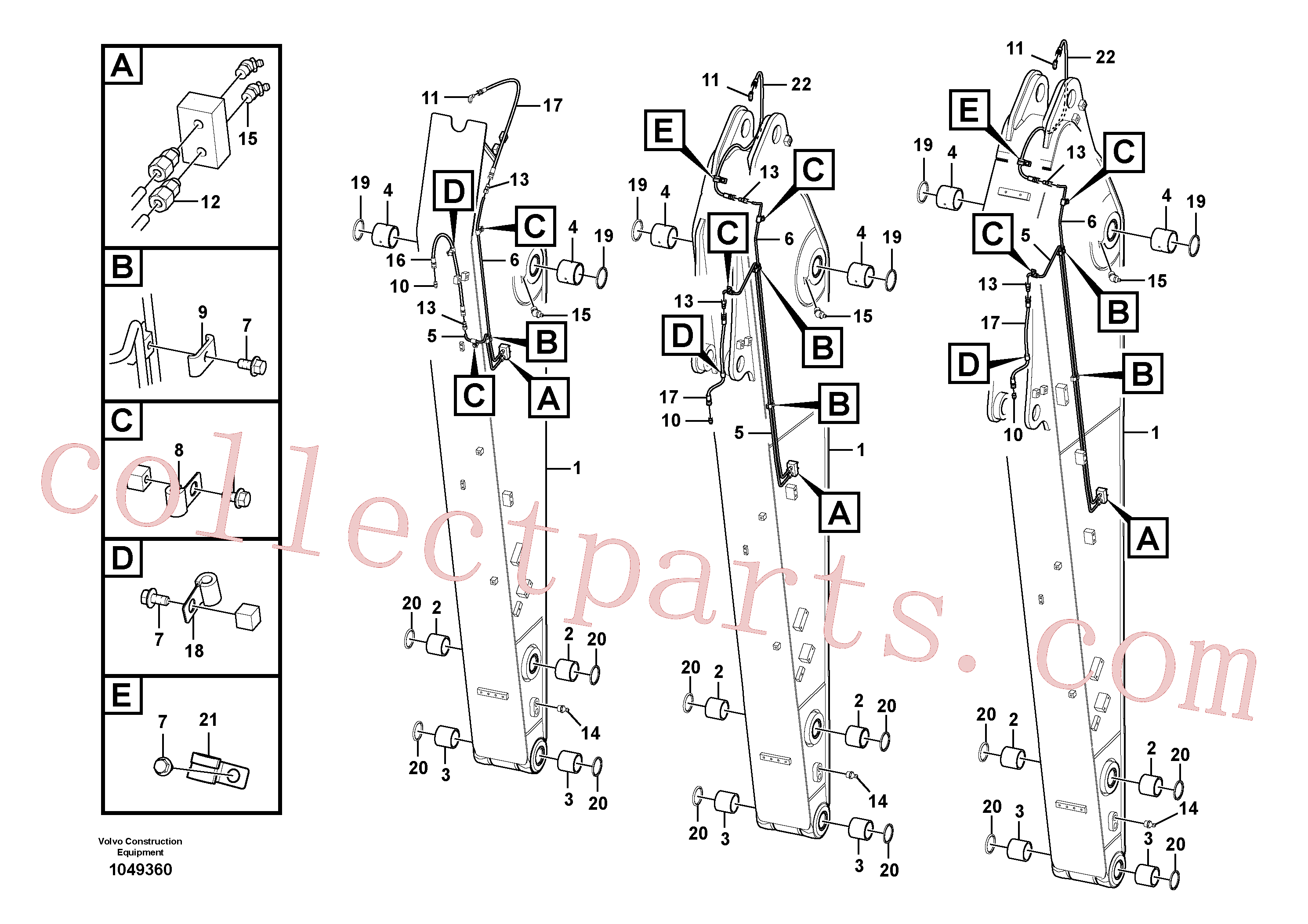 VOE14548168 for Volvo Dipper arm and grease piping with piping seat(1049360 assembly)